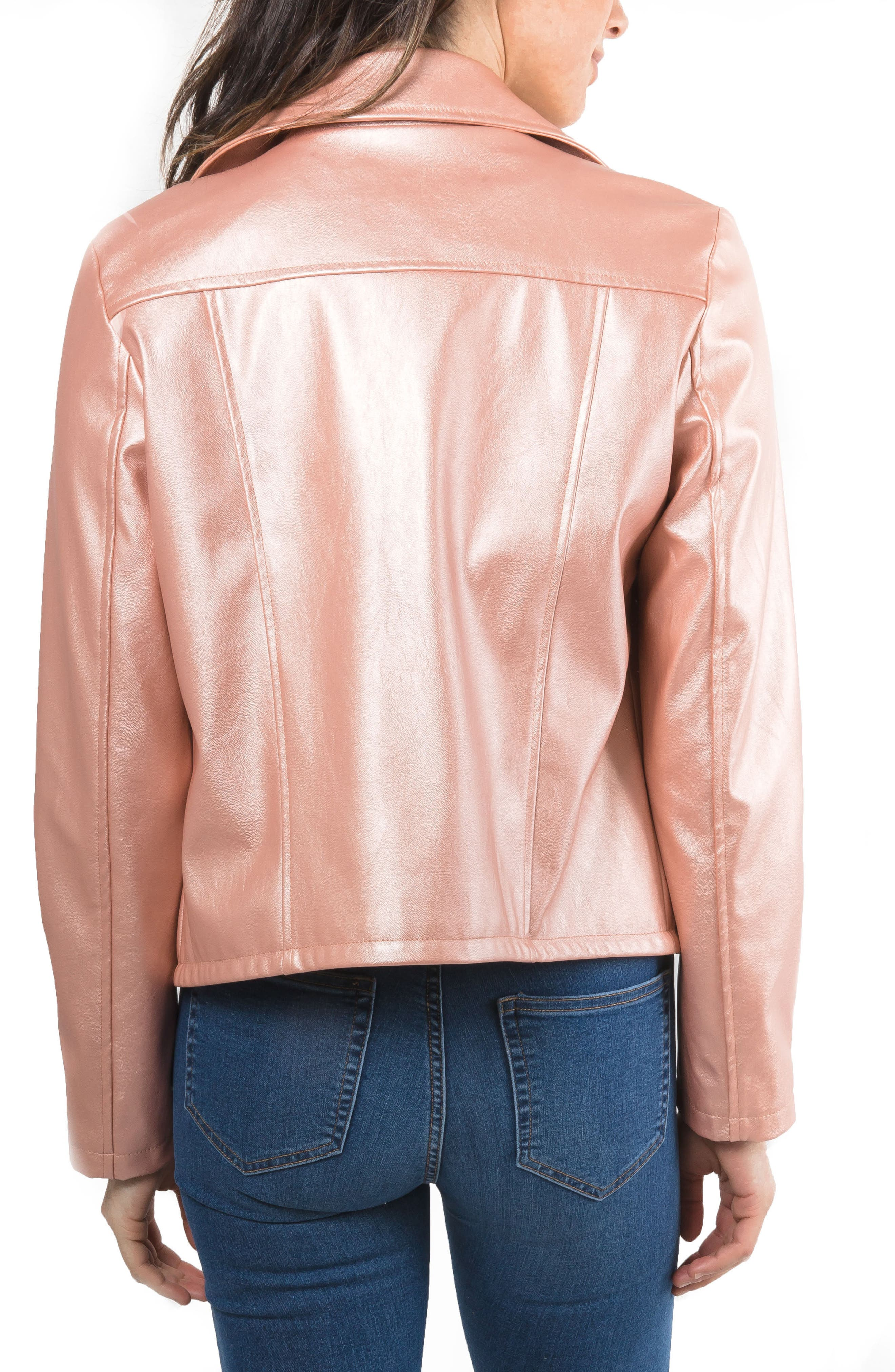 Metallic Faux Leather Biker Jacket,                             Alternate thumbnail 4, color,