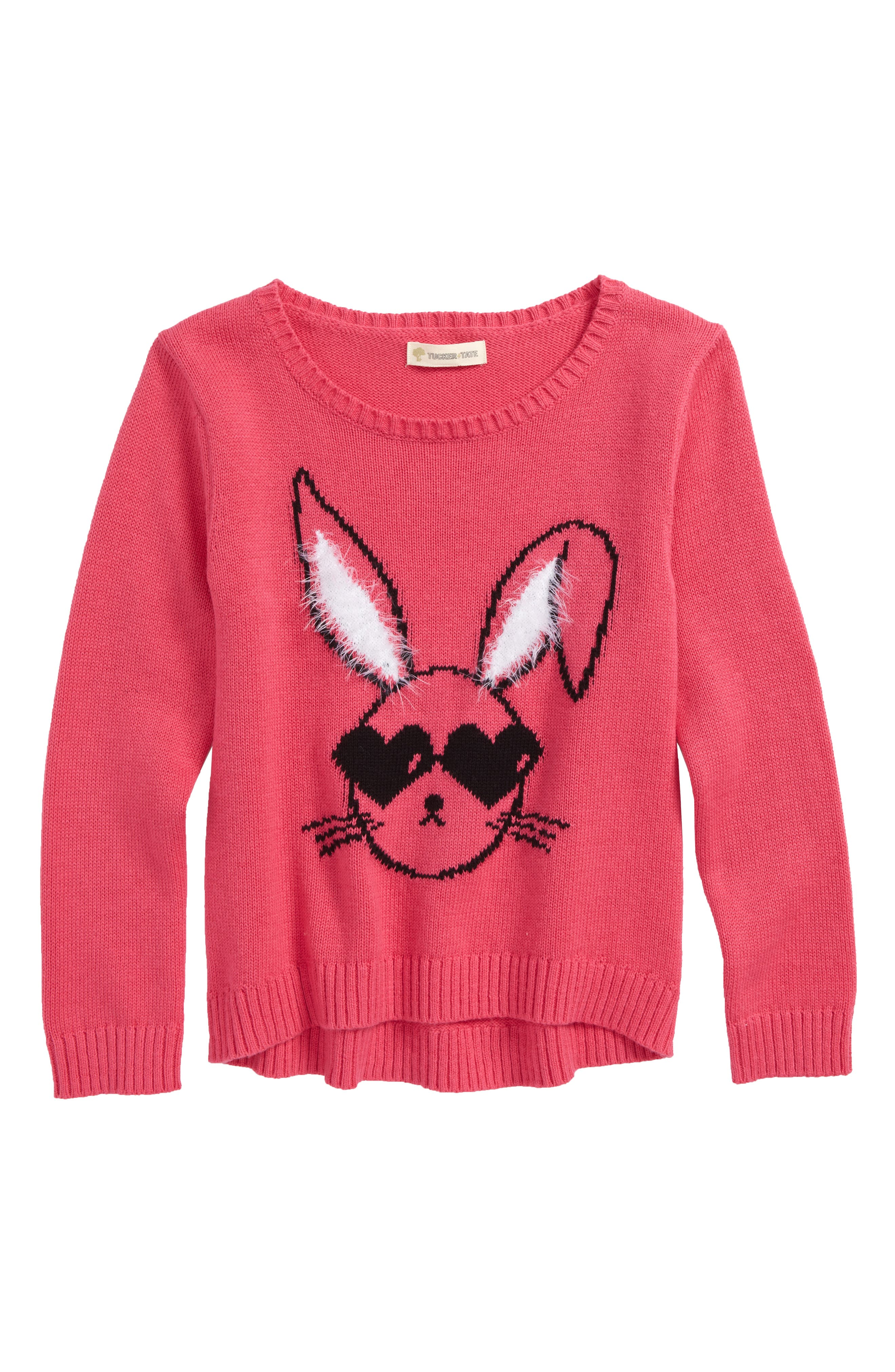 Icon Sweater,                             Main thumbnail 1, color,                             PINK MAGENTA COOL BUNNY