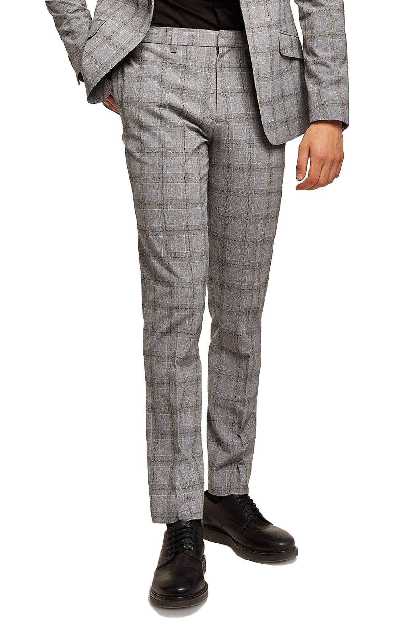 Check Suit Trousers,                             Main thumbnail 1, color,                             Grey/ Black