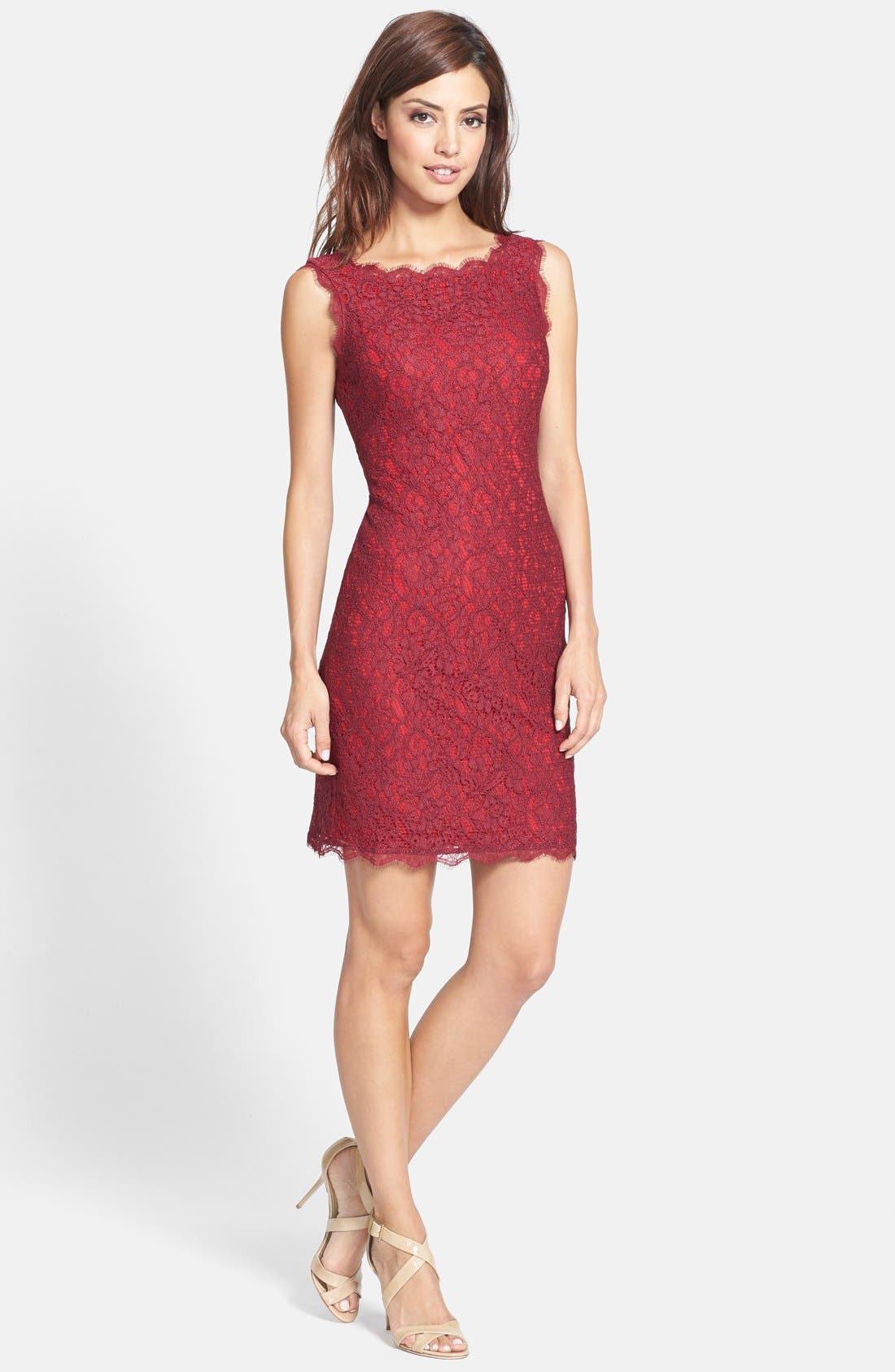 Boatneck Lace Sheath Dress,                             Alternate thumbnail 114, color,