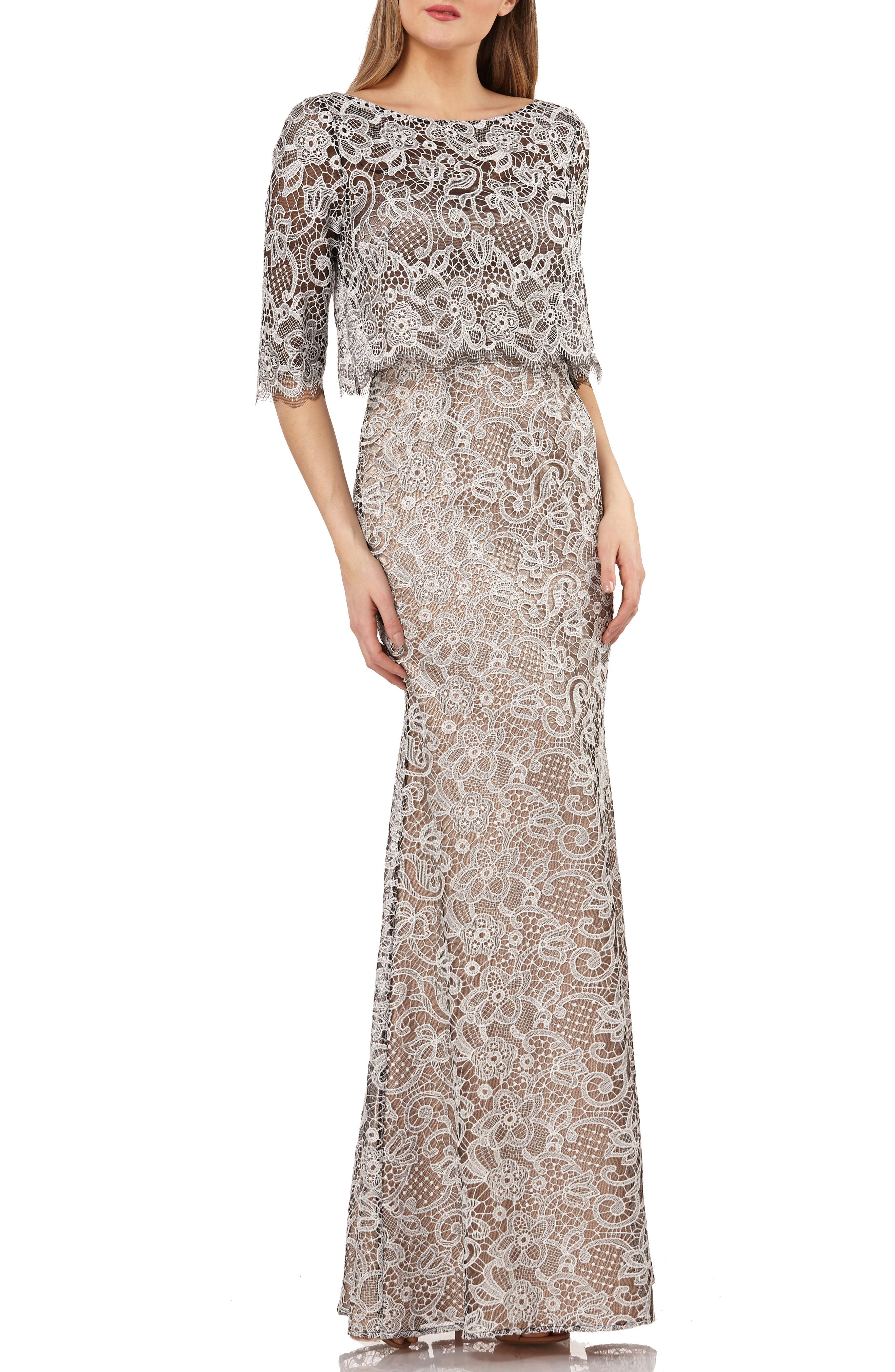 Js Collection Embroidered Lace Scallop Trim Evening Dress