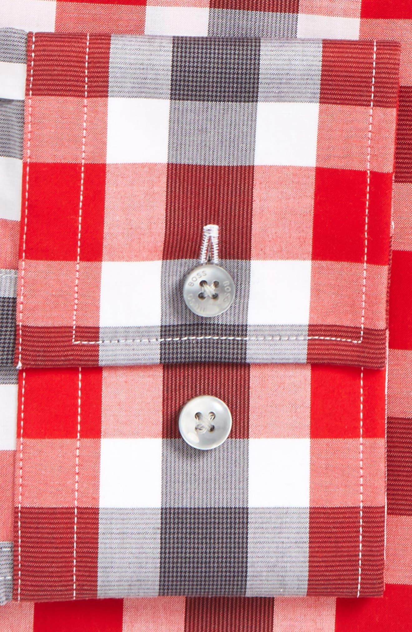 Jason Slim Fit Easy Iron Plaid Dress Shirt,                             Alternate thumbnail 4, color,