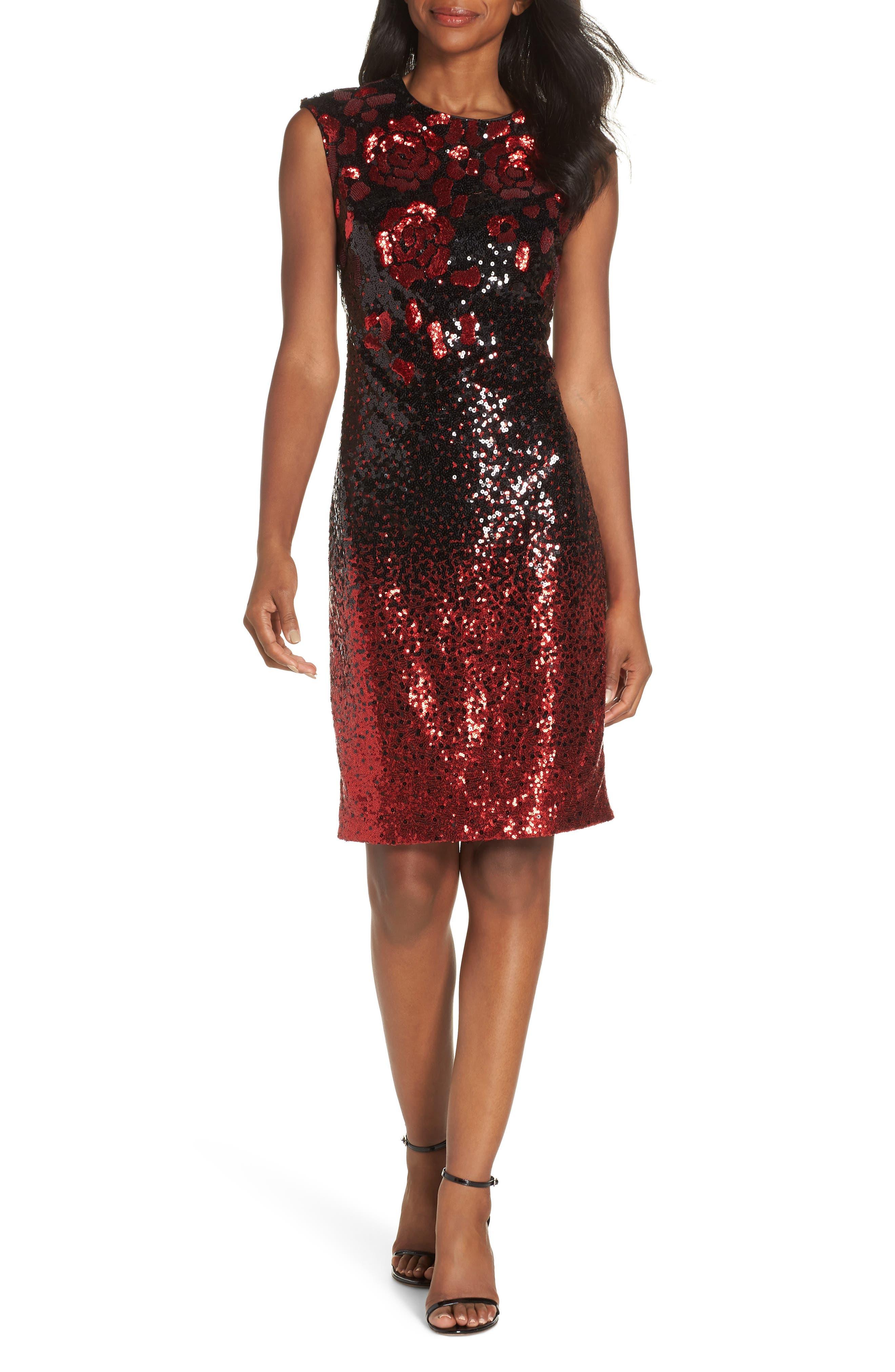 Body-Con Midi Dress, Main, color, BLACK RED MULTI