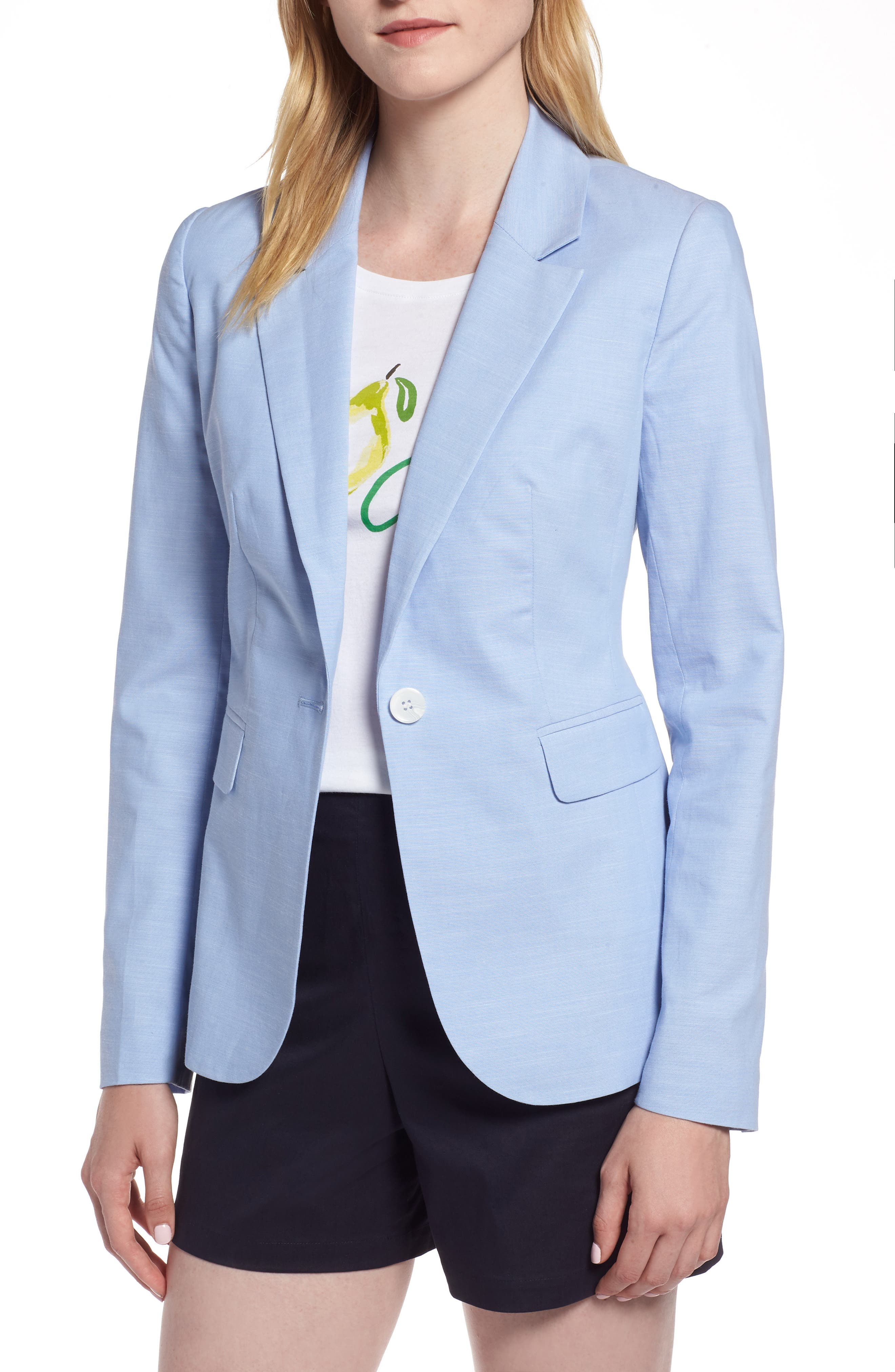 Cotton Chambray Blazer,                             Main thumbnail 1, color,                             CHAMBRAY