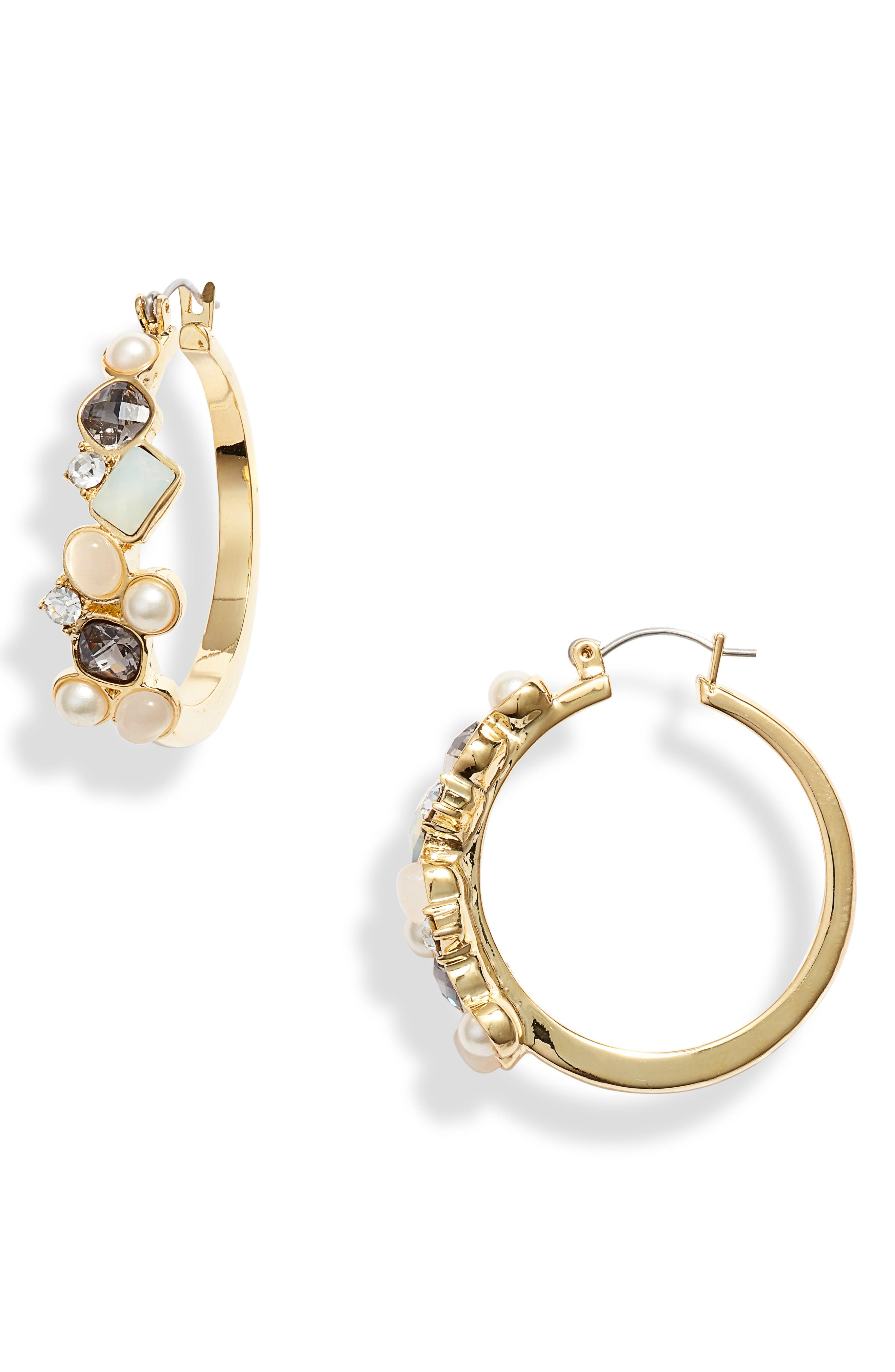 VINCE CAMUTO Cluster Hoop Earrings, Main, color, GOLD/ IVORY