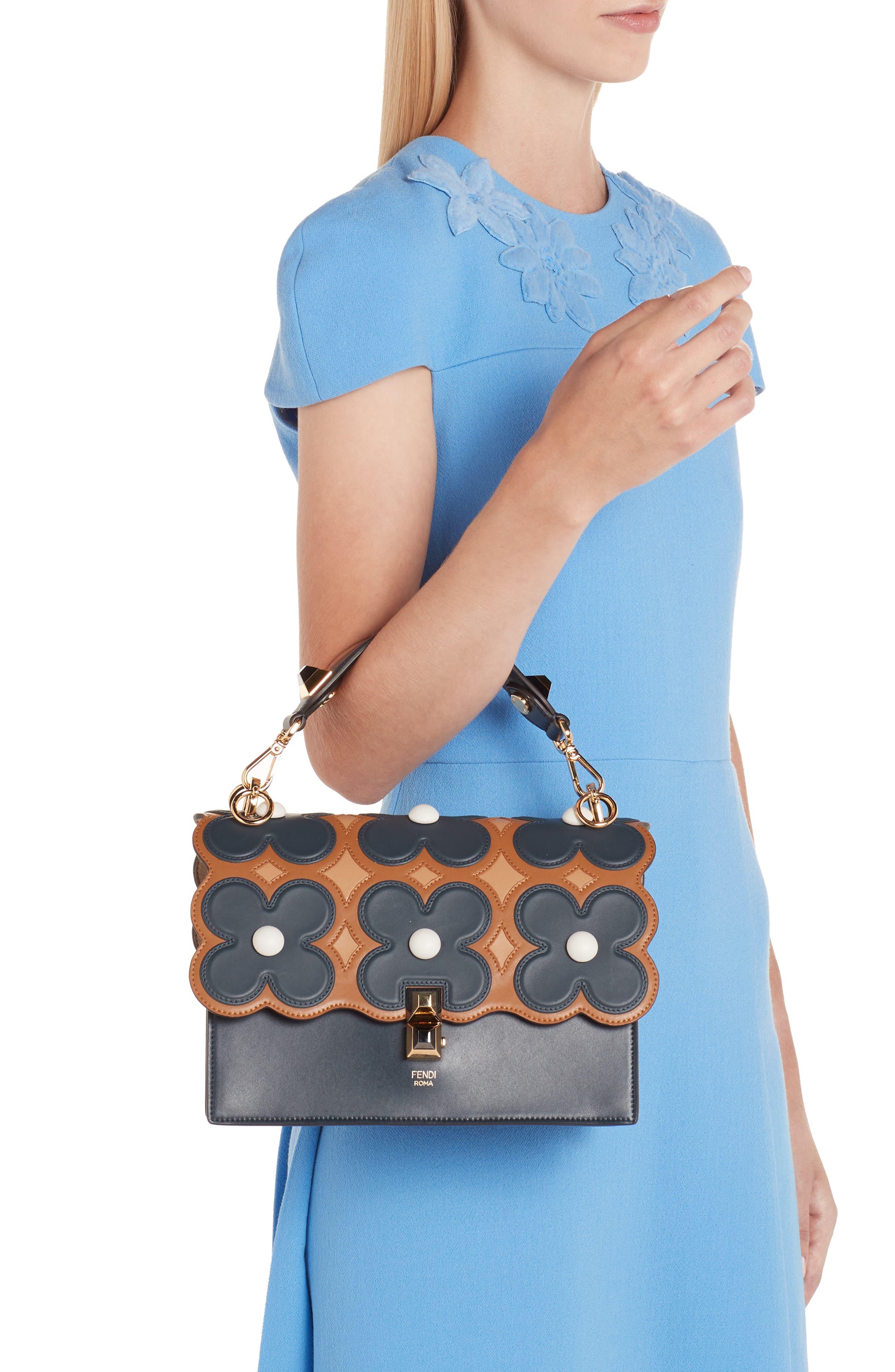 FENDI,                             Kan I Liberty Flower Leather Shoulder Bag,                             Alternate thumbnail 2, color,                             NOTTURNO
