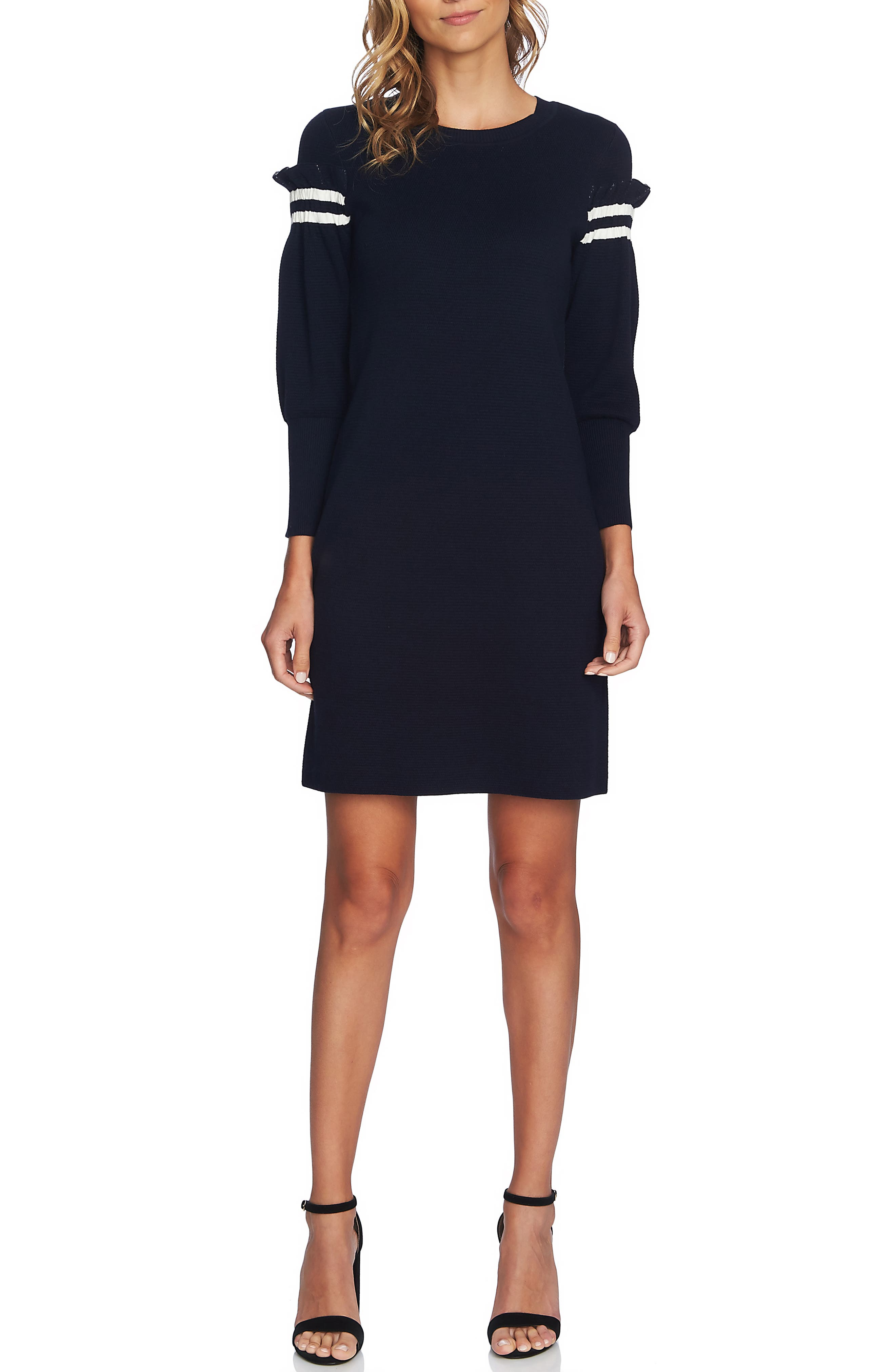 Cece Puffed Sleeve Sweater Dress, Black