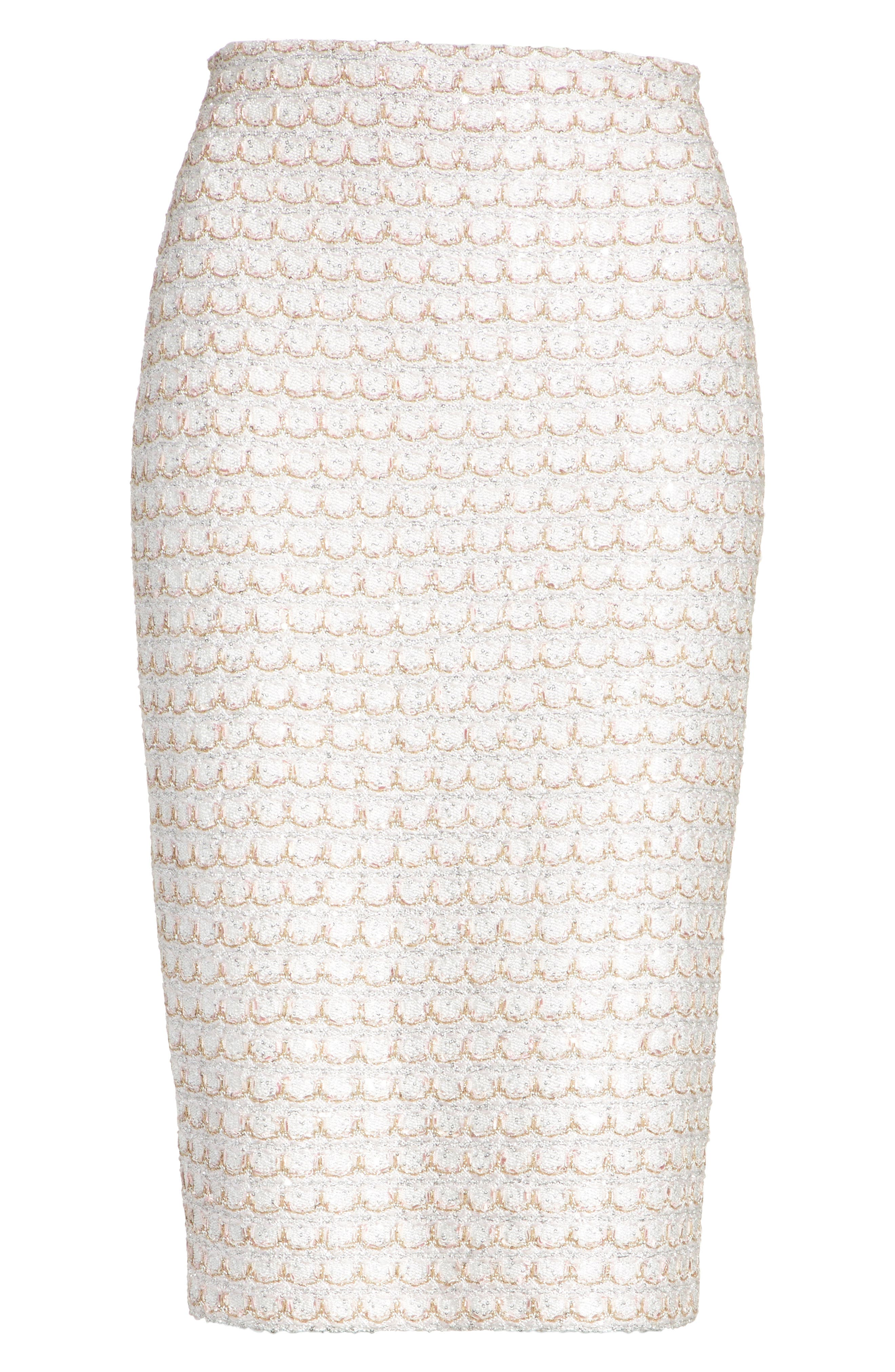 Sequin Scallop Tweed Pencil Skirt,                             Alternate thumbnail 6, color,                             100