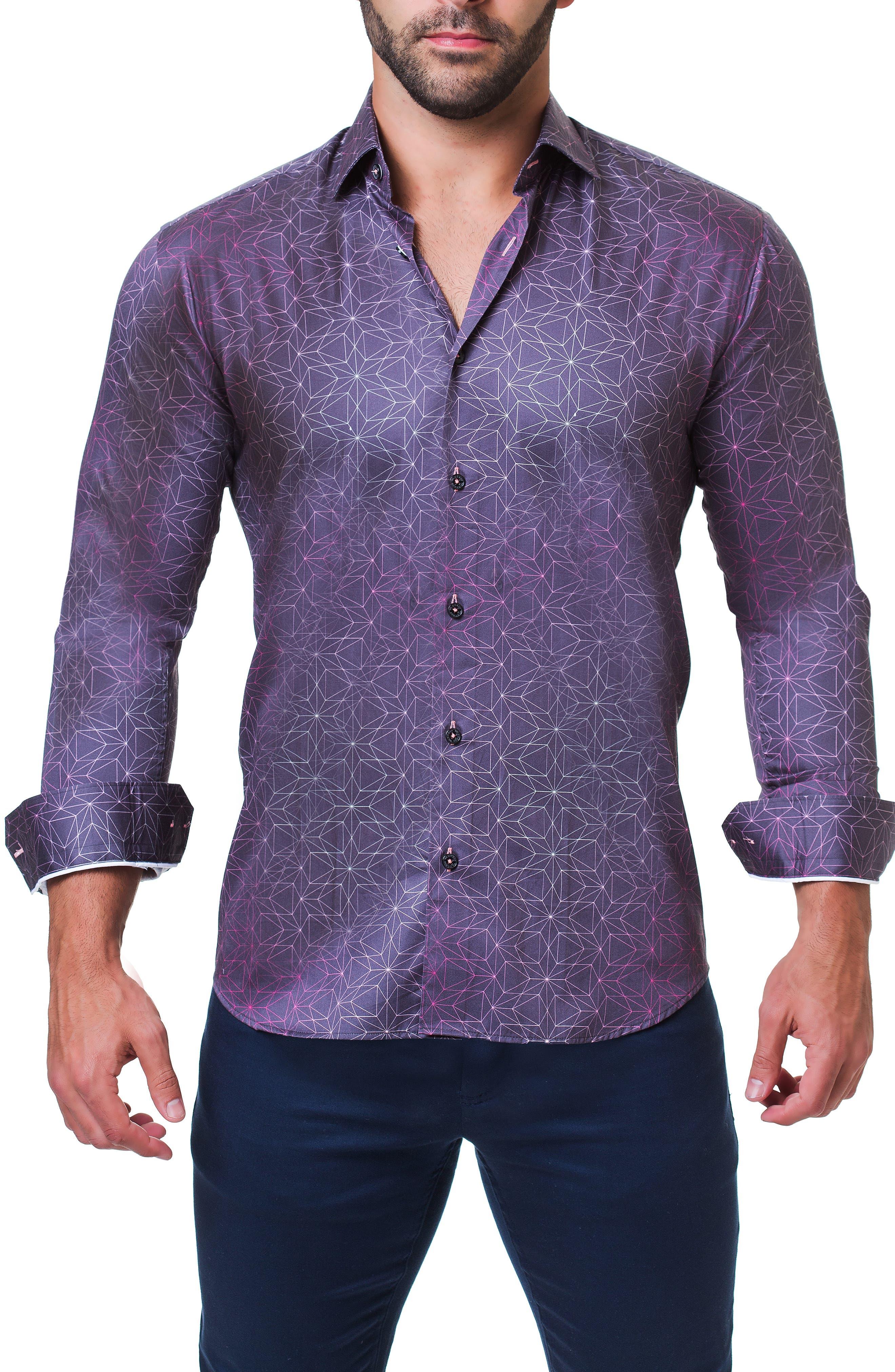 Fibonacci Star Print Sport Shirt,                             Alternate thumbnail 3, color,                             BLUE