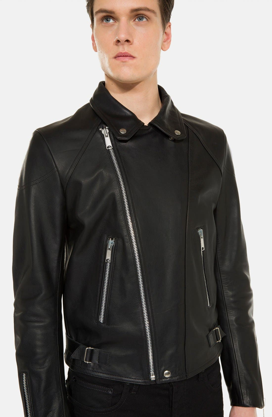 'Norton' Leather Jacket,                             Alternate thumbnail 4, color,                             001