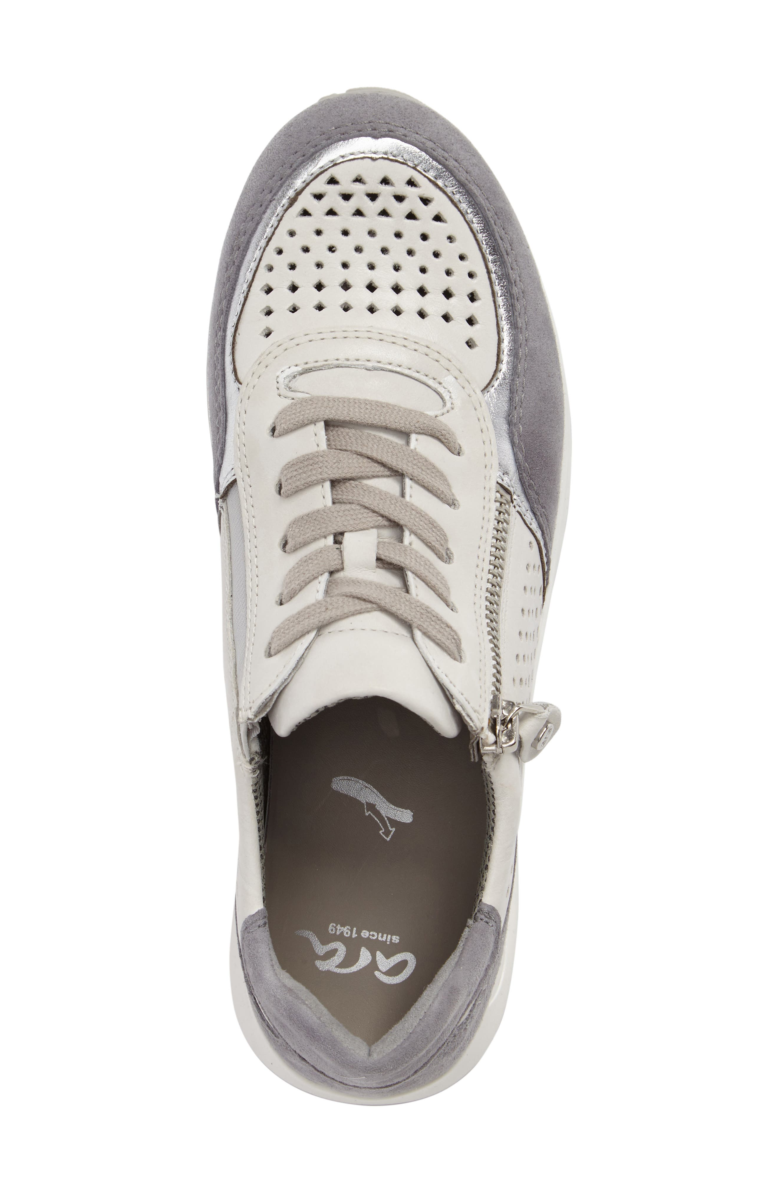 Olivia Perforated Sneaker,                             Alternate thumbnail 5, color,                             SILVER SUEDE