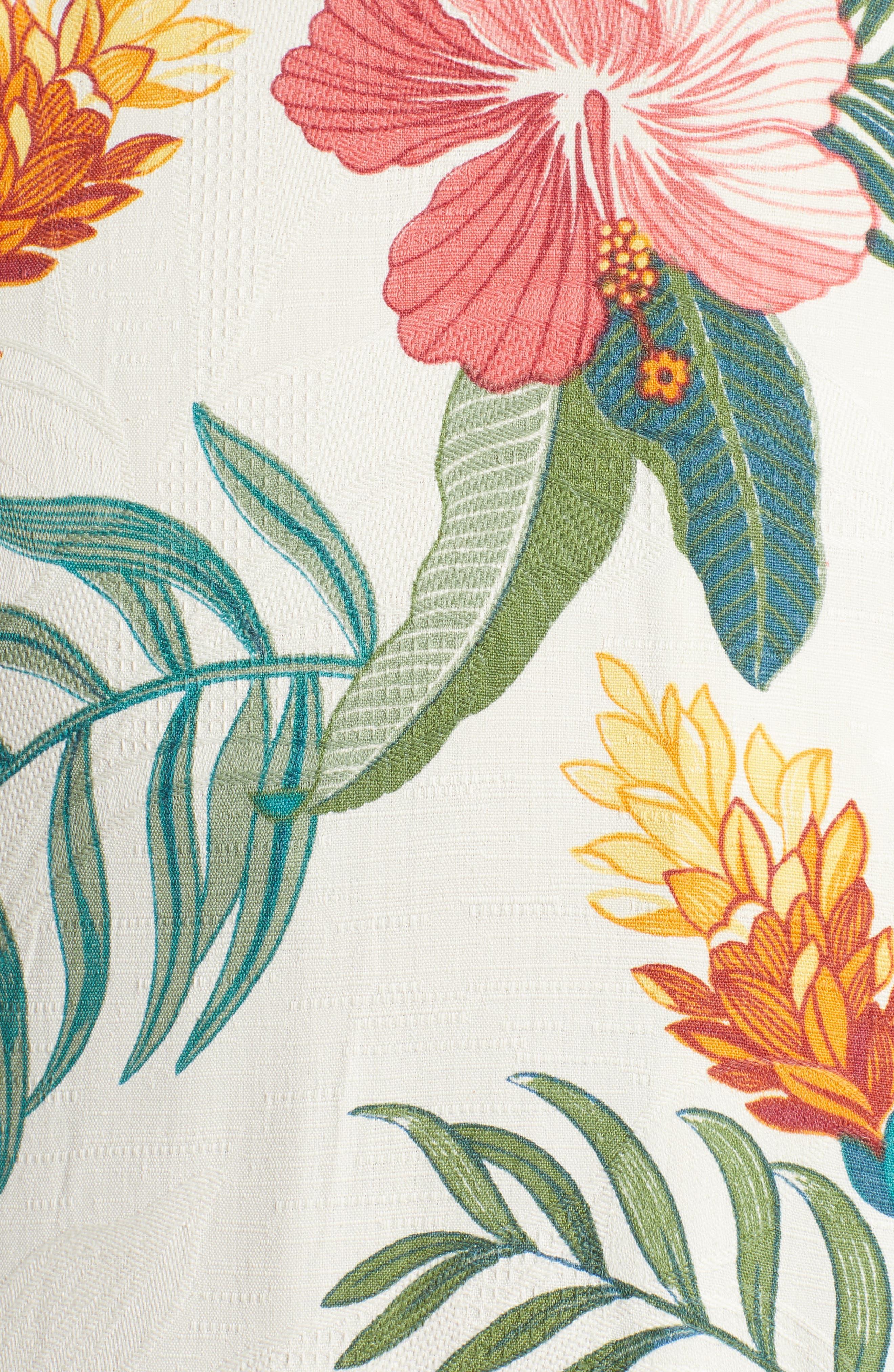 Beach Crest Blooms Short Sleeve Silk Blend Sport Shirt,                             Alternate thumbnail 5, color,                             CONTINENTAL