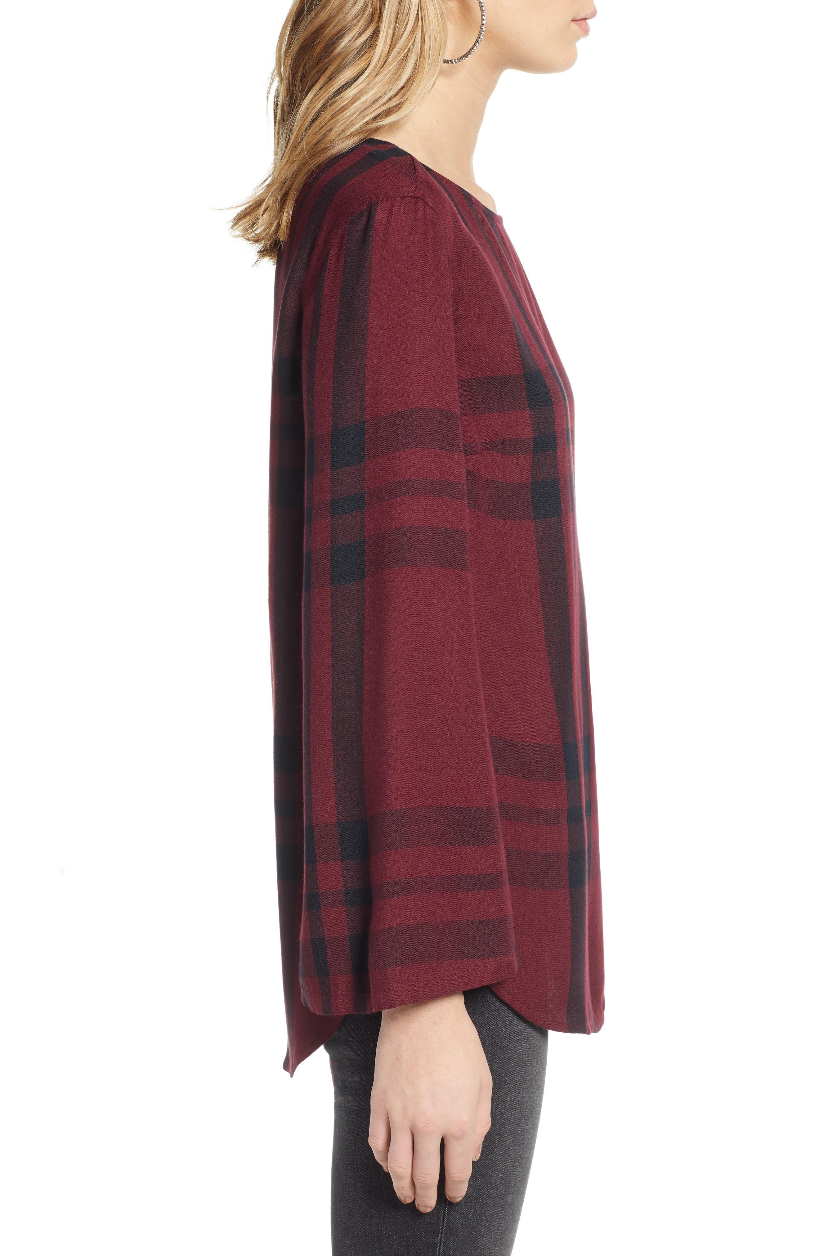 Bell Sleeve Shirt,                             Alternate thumbnail 3, color,                             RED TANNIN BULLSEYE PLAID