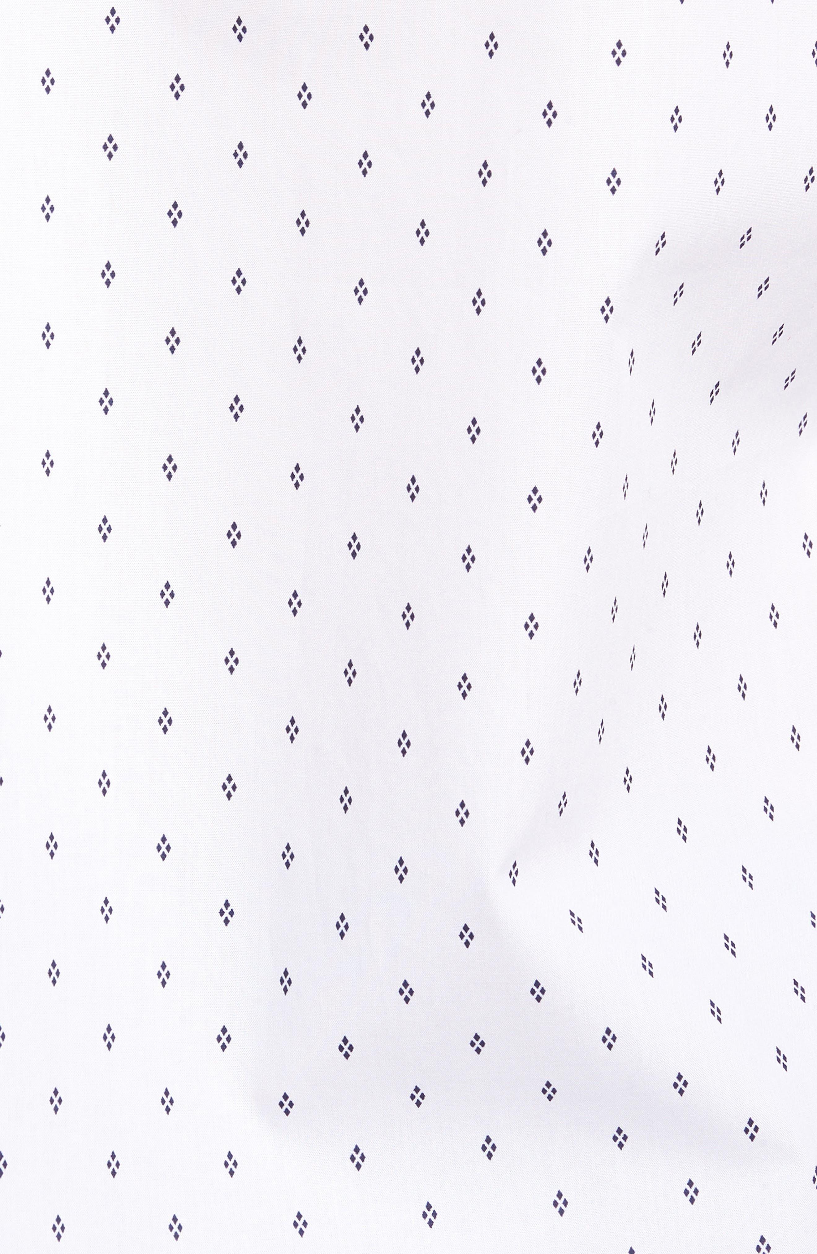 Slim Fit Non-Iron Print Sport Shirt,                             Alternate thumbnail 5, color,                             WHITE NAVY IRIS DIAMOND