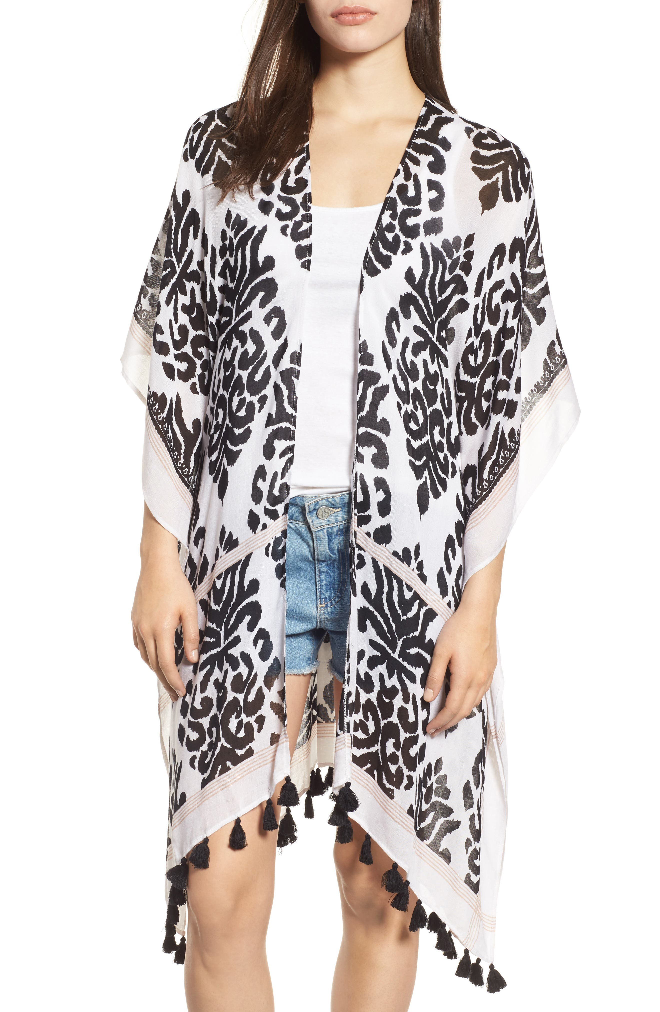 Fringed Swim Cover-Up,                         Main,                         color, 001