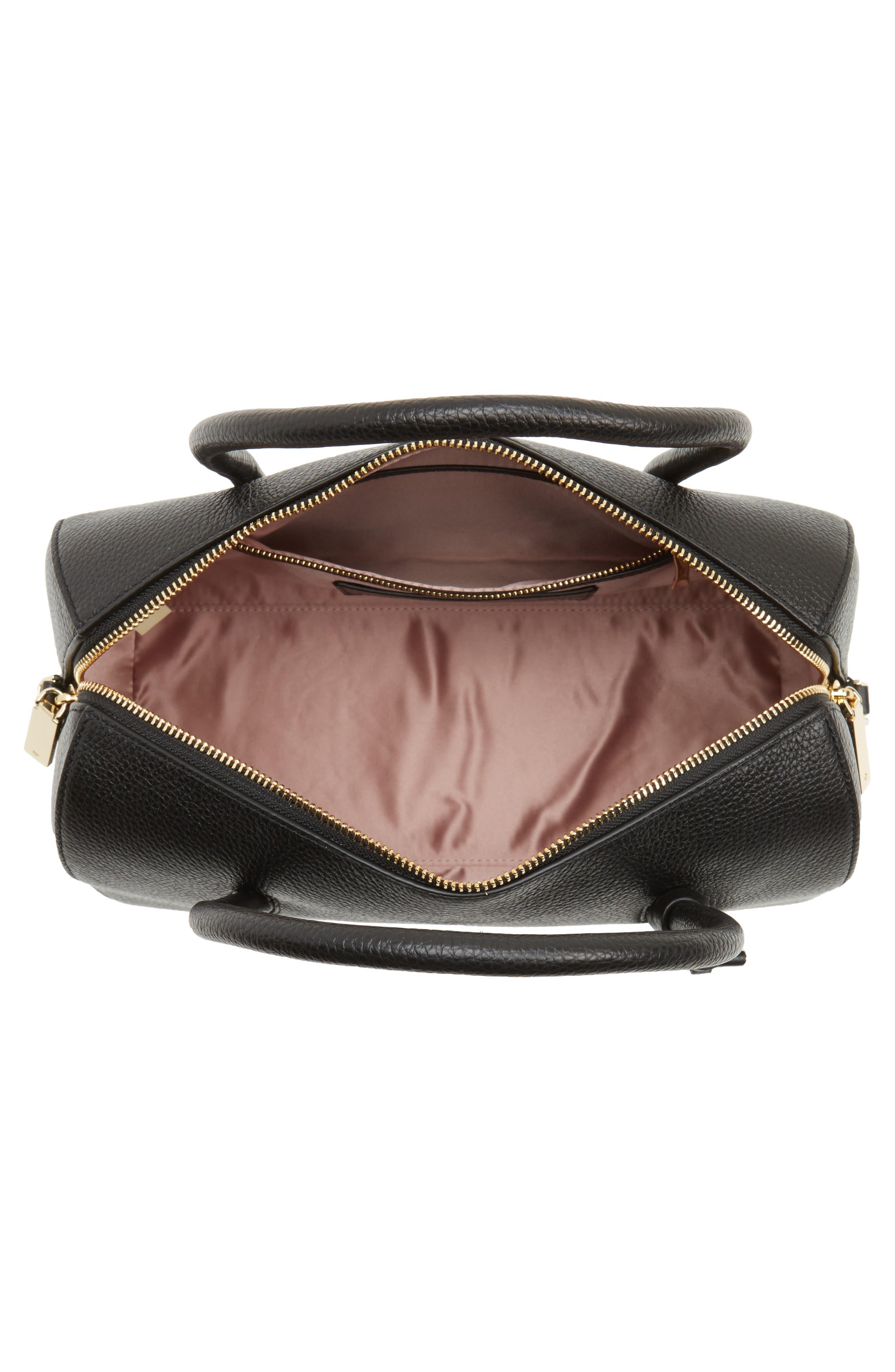 mega madison knollwood drive - lane leather satchel,                             Alternate thumbnail 4, color,                             001
