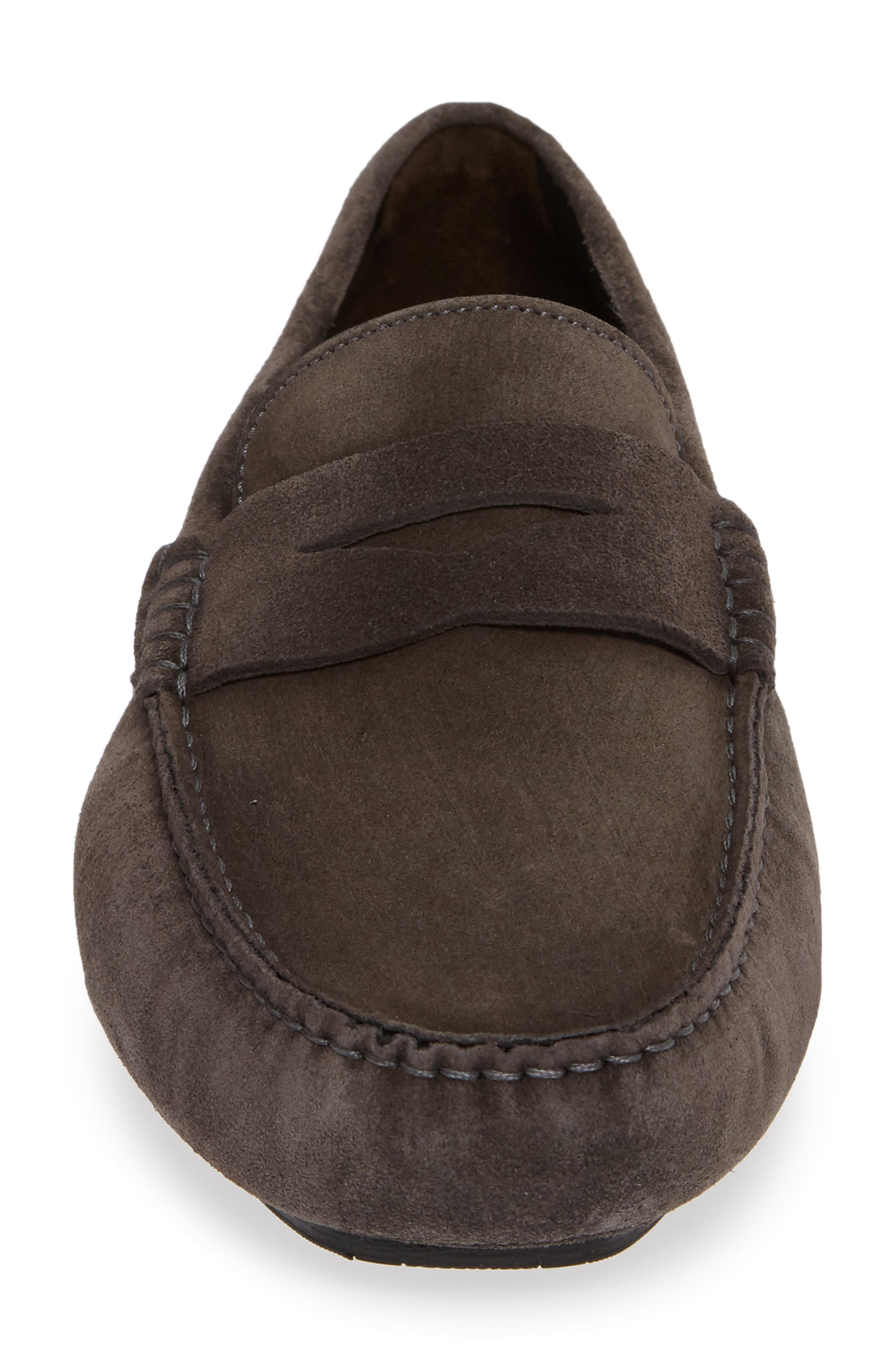 Jackson Penny Driving Loafer,                             Alternate thumbnail 4, color,                             GREY LEATHER