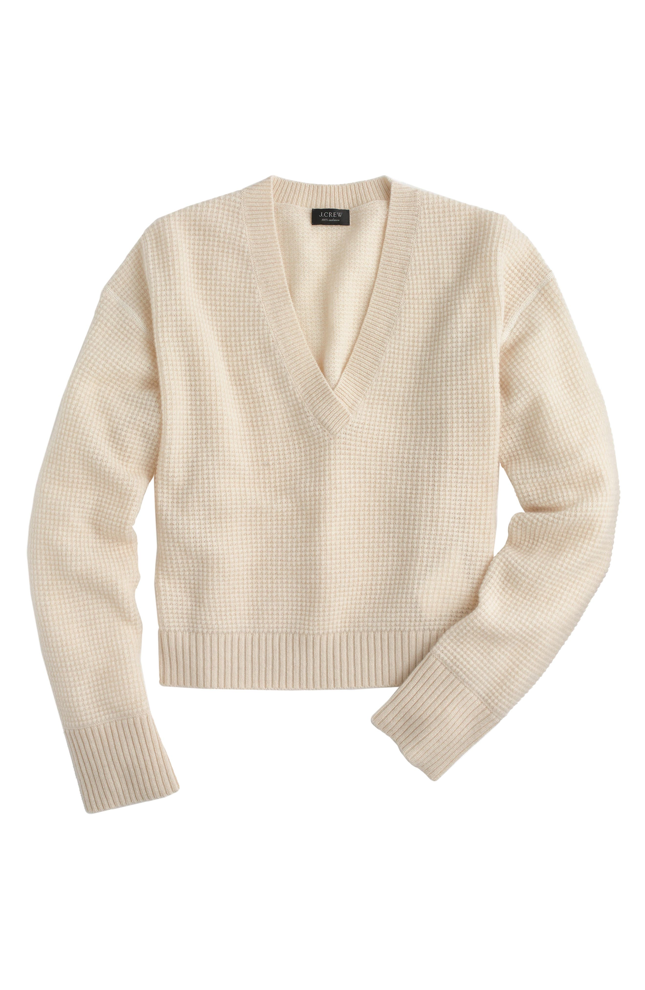 V-Neck Crop Thermal Cashmere Sweater,                             Main thumbnail 1, color,