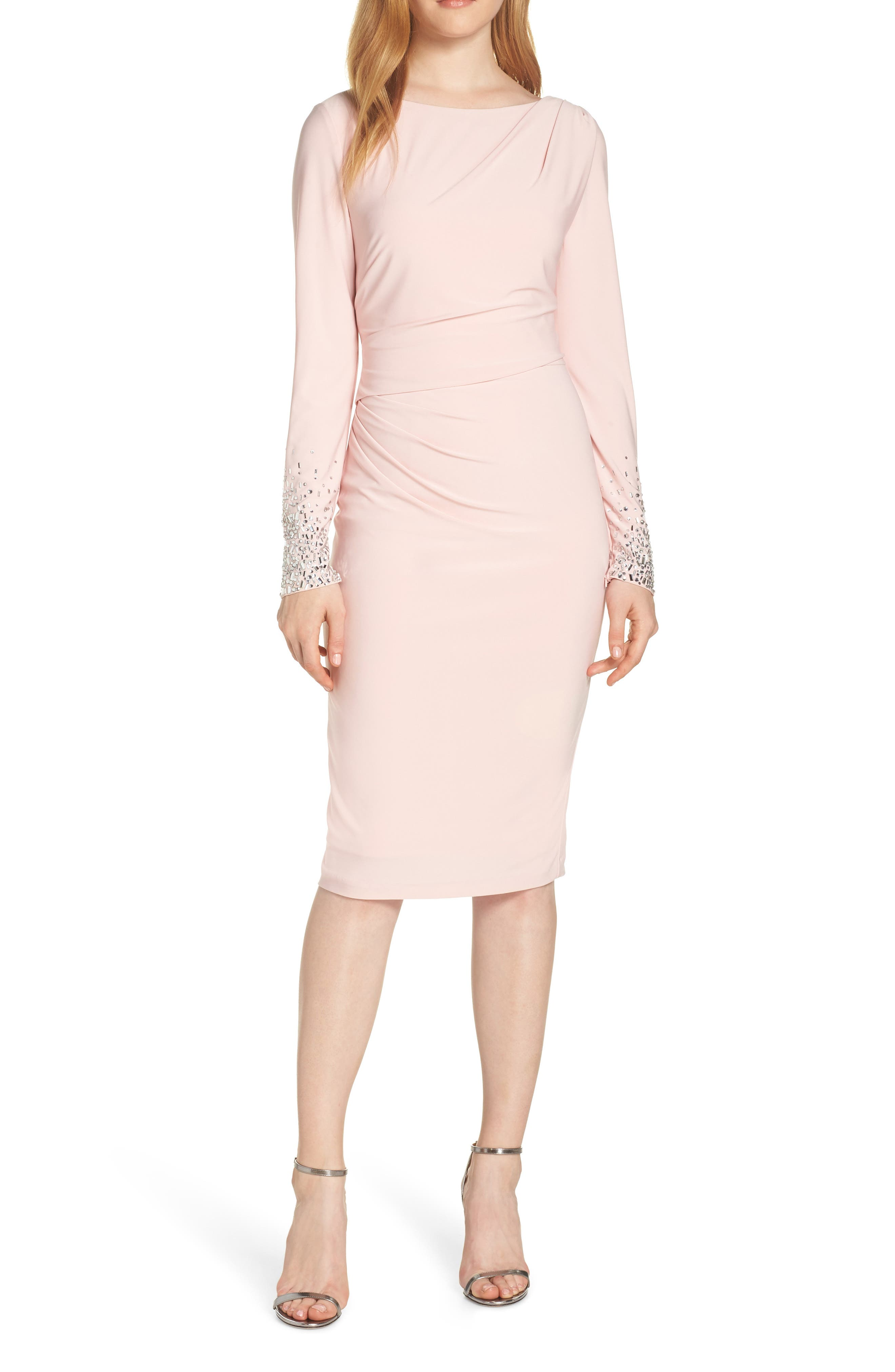 Vince Camuto Long Sleeve Bateau Neck Cocktail Dress