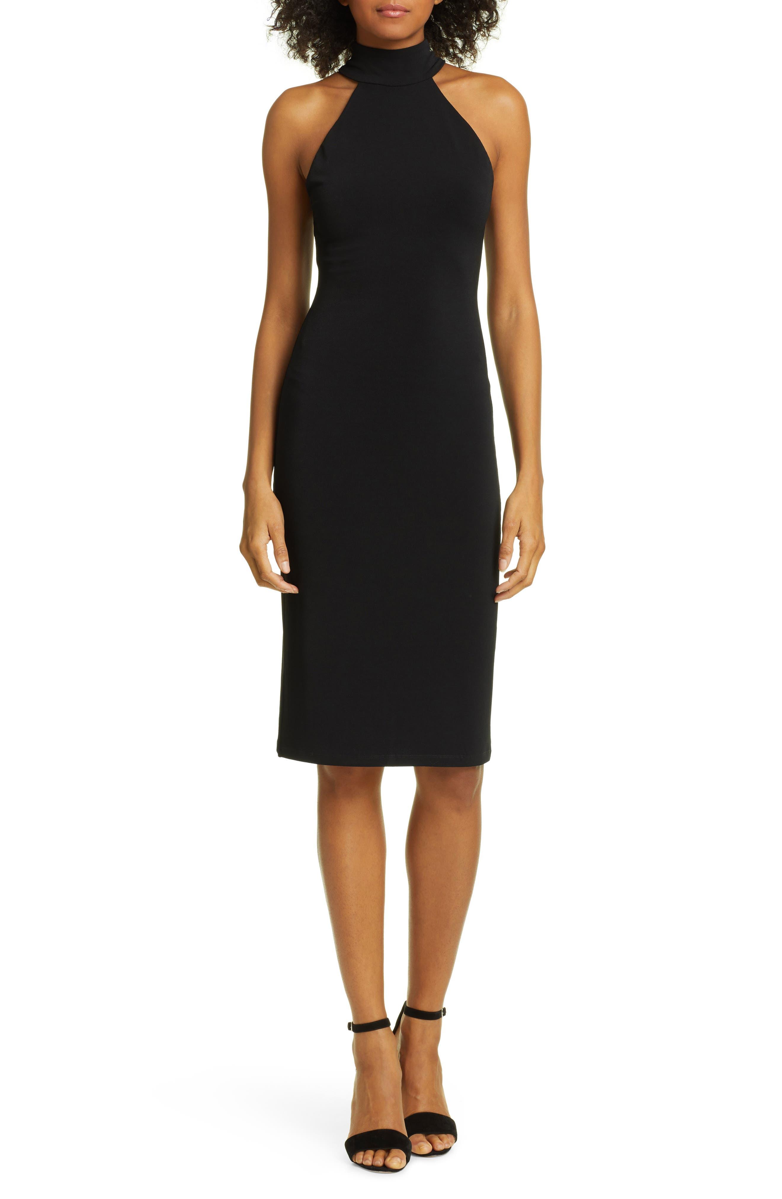 Alice + Olivia Jensen Halter Dress, Black