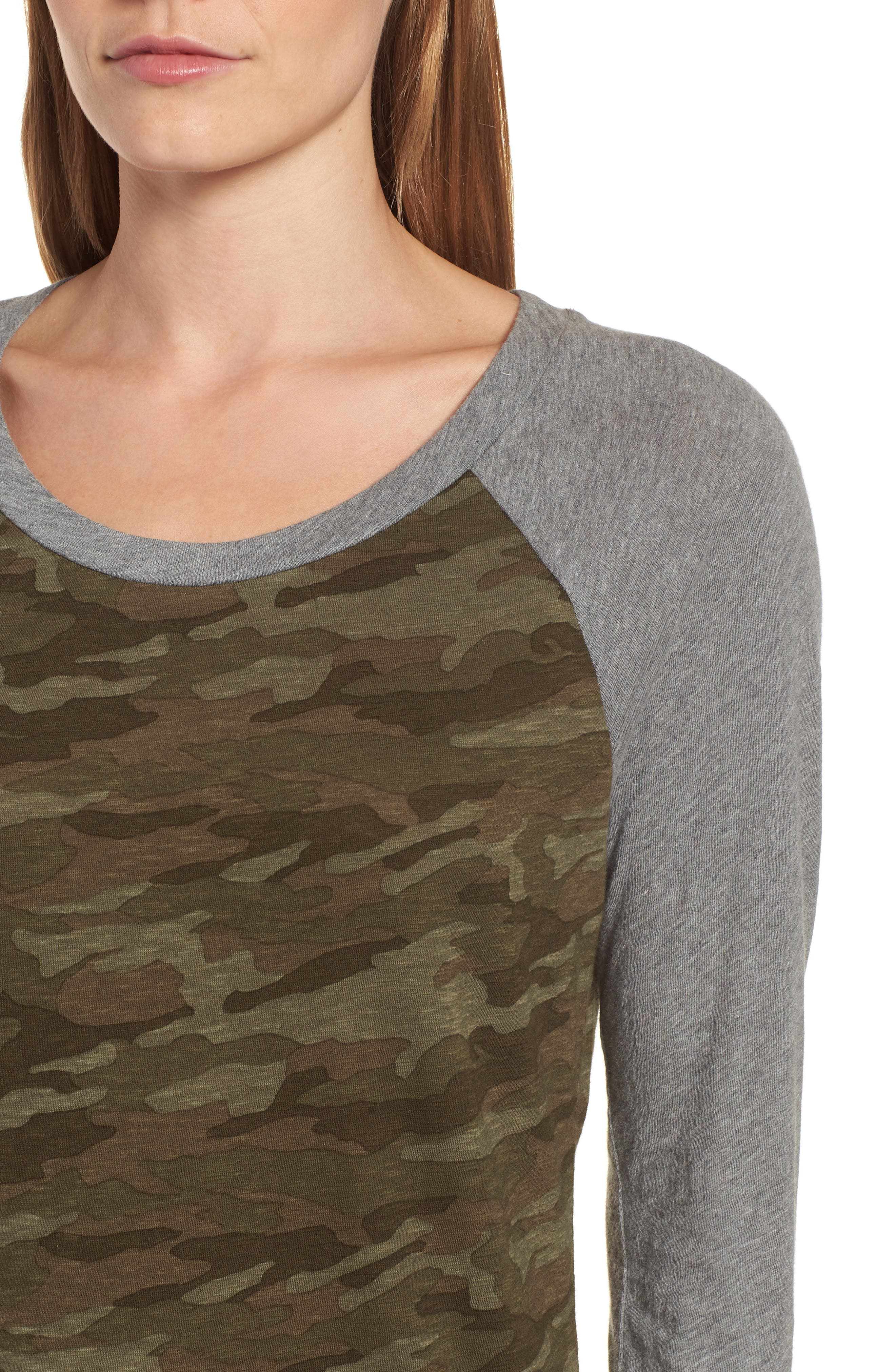 Lightweight Colorblock Cotton Tee,                             Alternate thumbnail 4, color,                             OLIVE CAMO - GREY