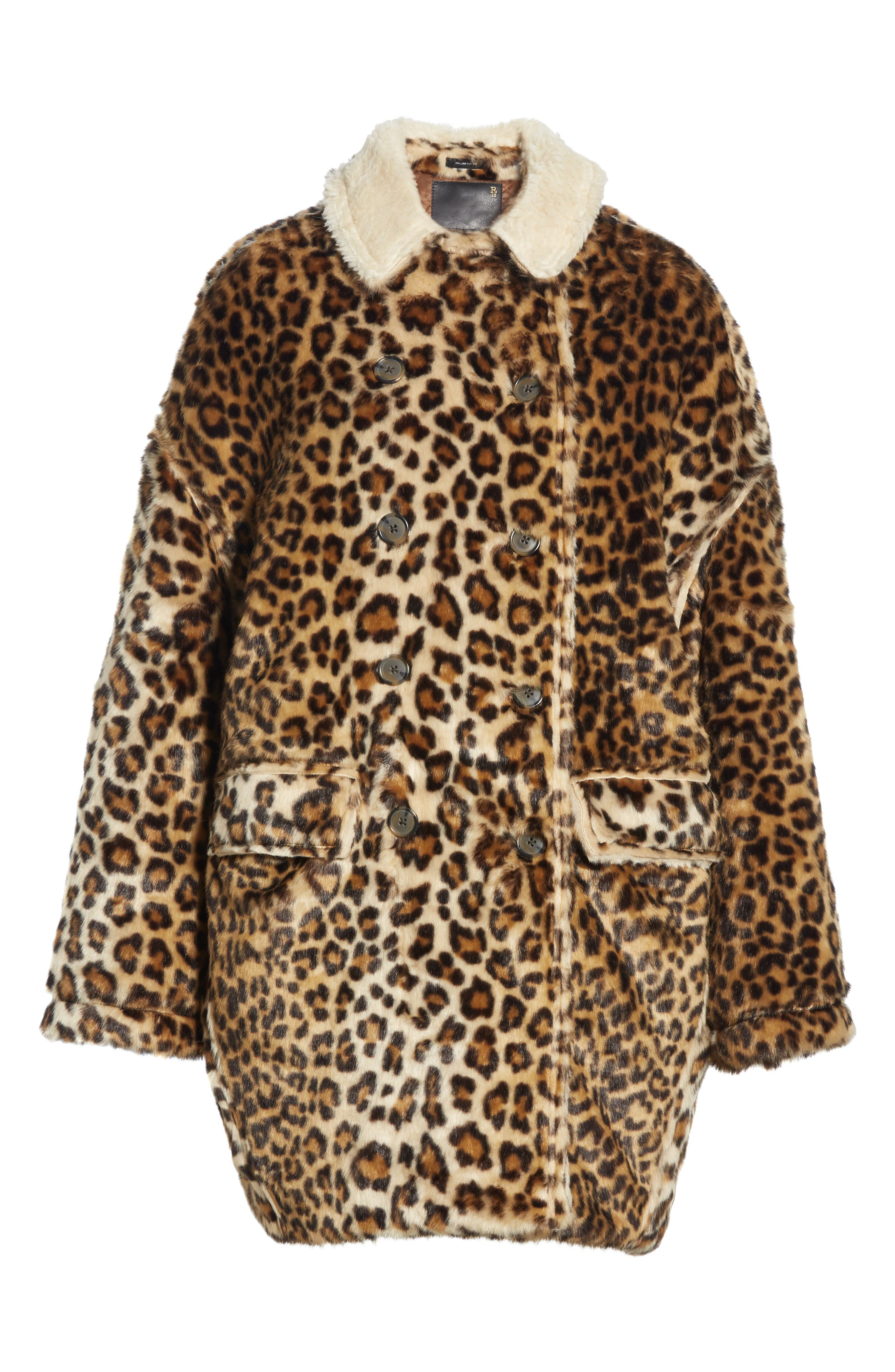R13,                             Oversize Faux Leopard Hunting Coat,                             Alternate thumbnail 5, color,                             242