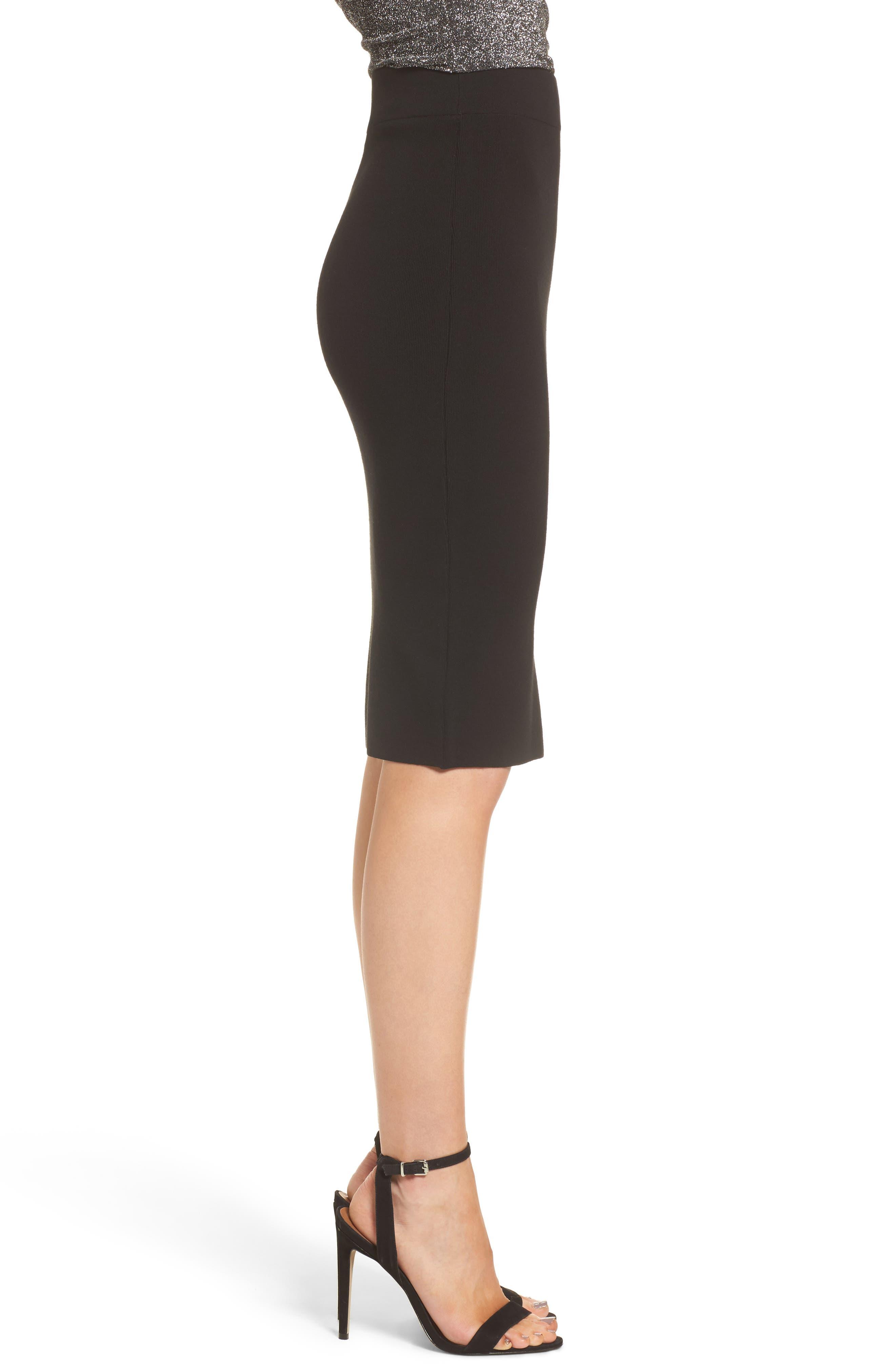 High Waist Body-Con Skirt,                             Alternate thumbnail 3, color,                             BLACK
