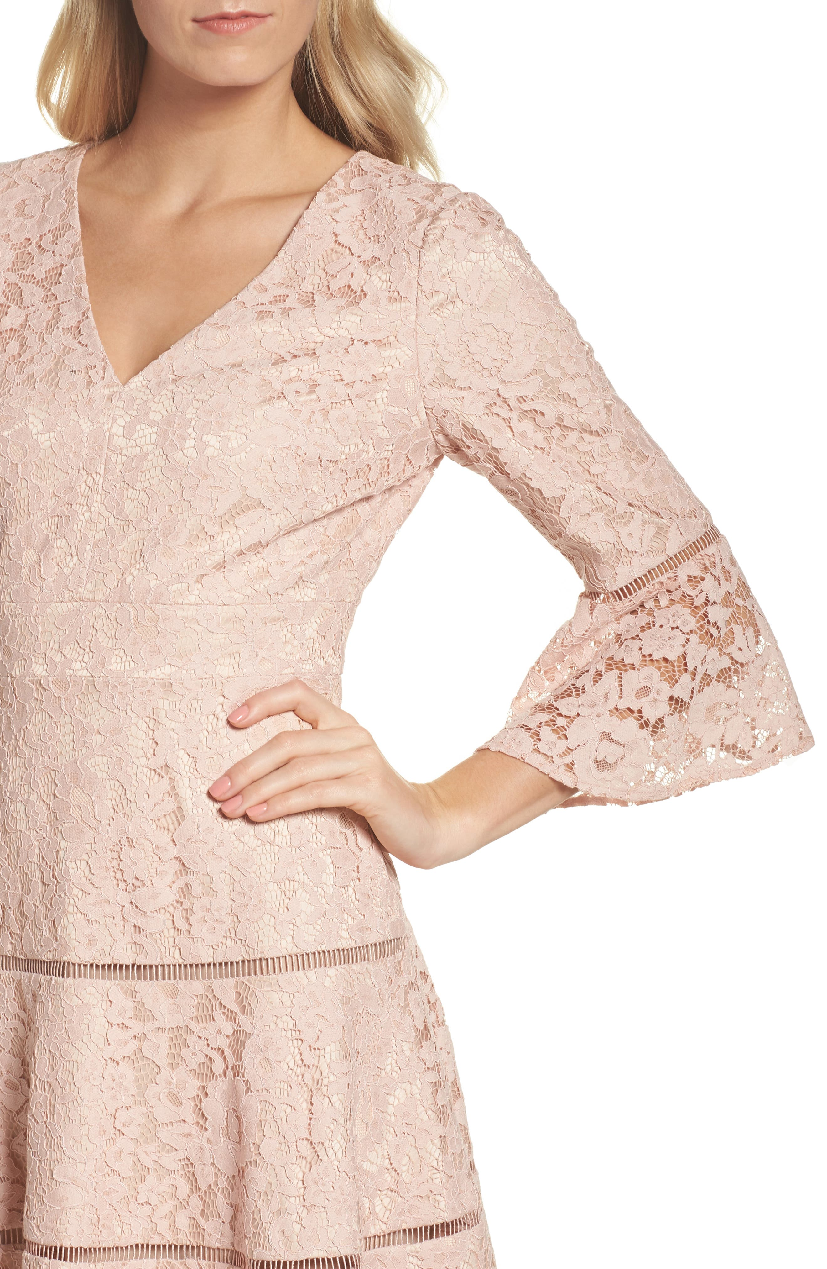 Bell Sleeve Lace Fit & Flare Dress,                             Alternate thumbnail 8, color,