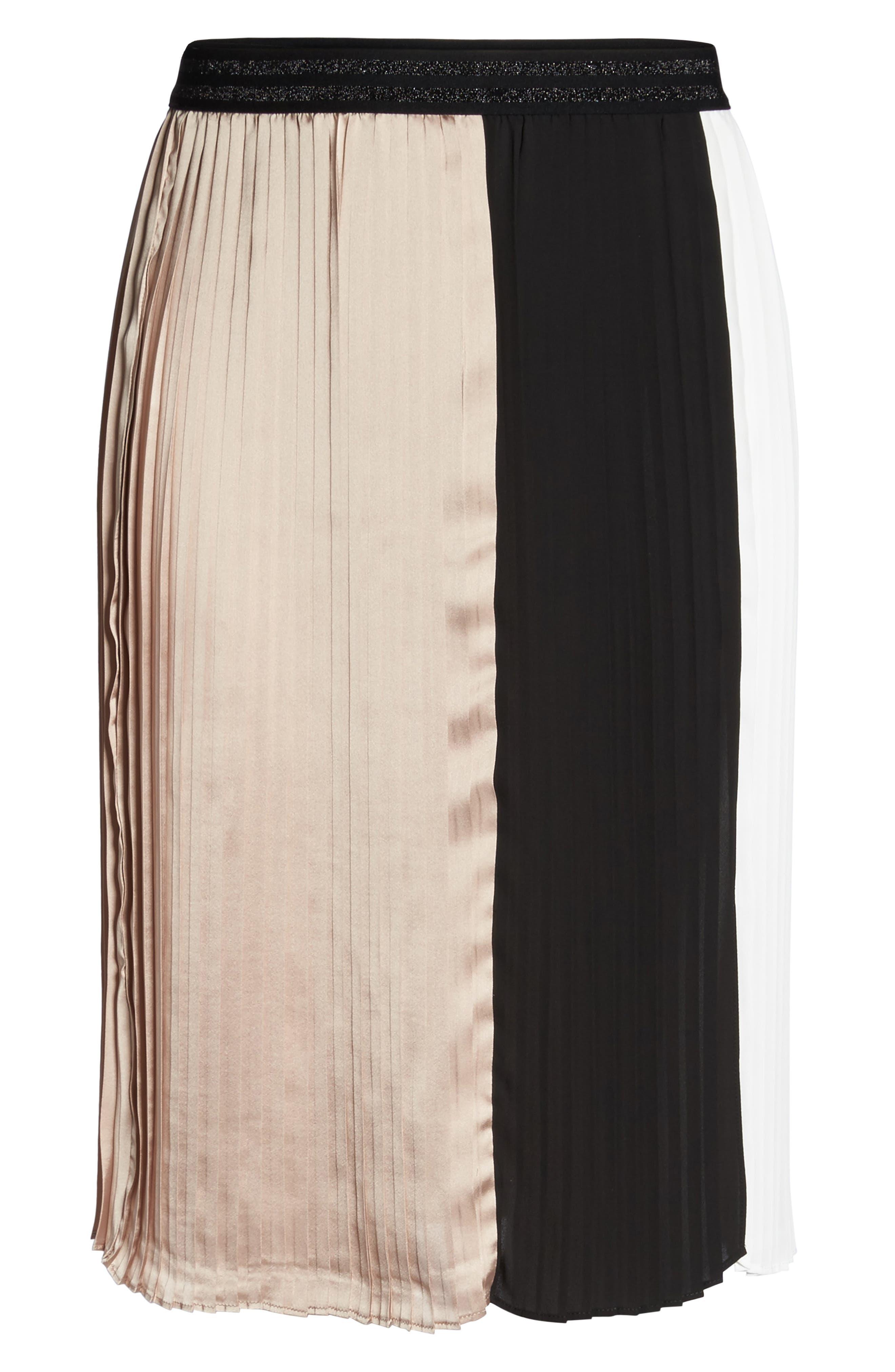 Colorblock Pleat Skirt,                             Alternate thumbnail 6, color,                             003