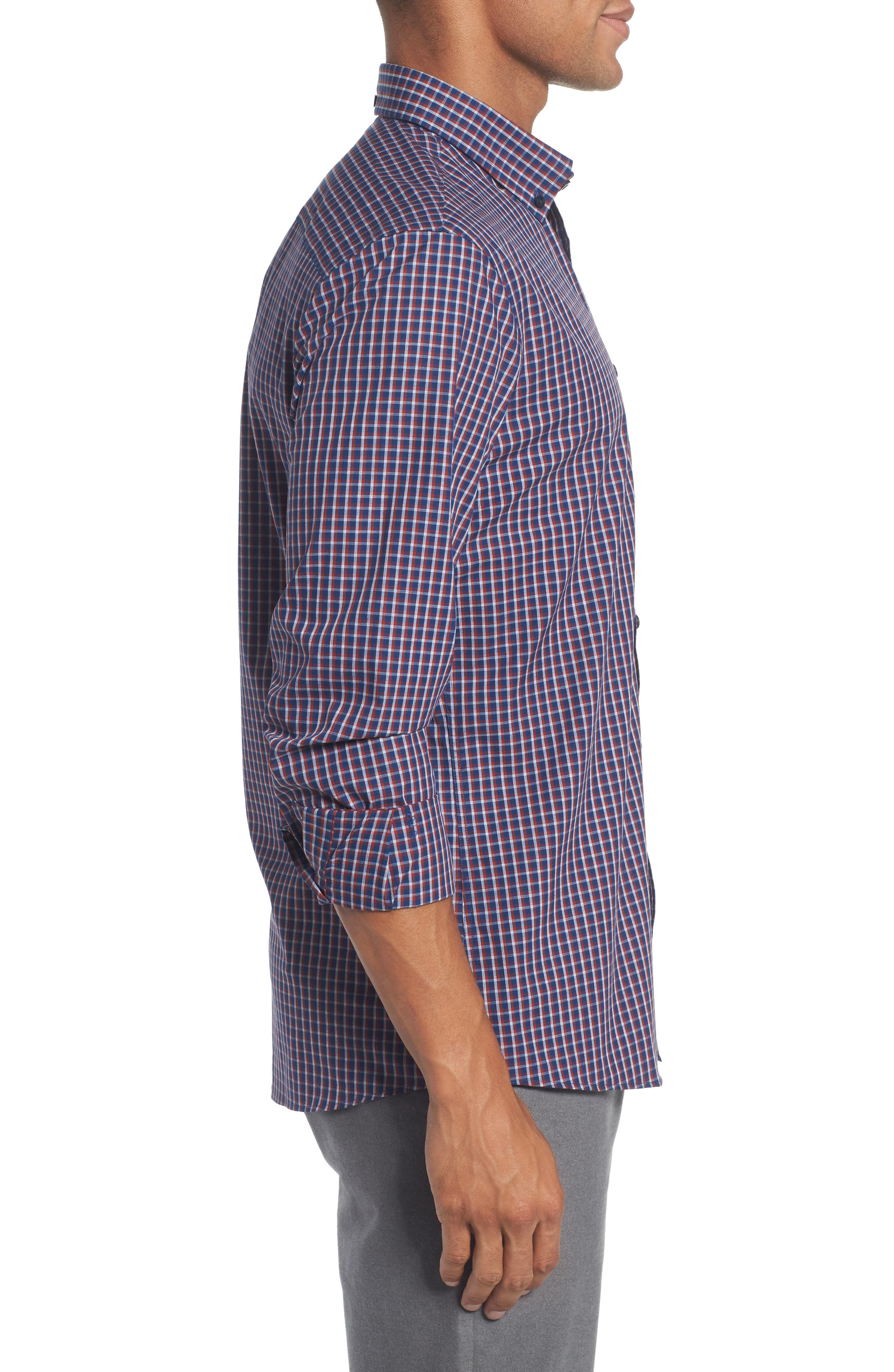 Slim Fit Non-Iron Mini Check Sport Shirt,                             Alternate thumbnail 3, color,                             420