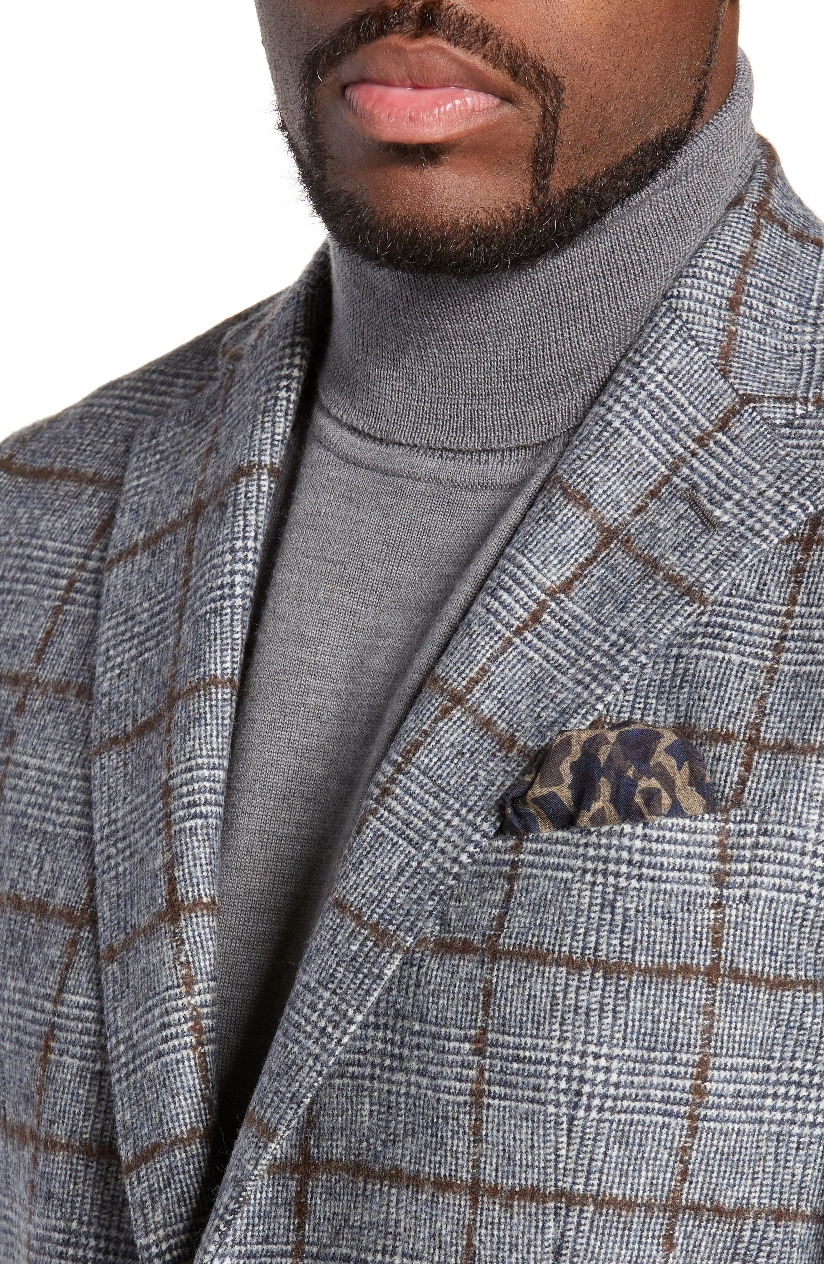 Trim Fit Plaid Wool Sport Coat,                             Alternate thumbnail 4, color,                             NAVY