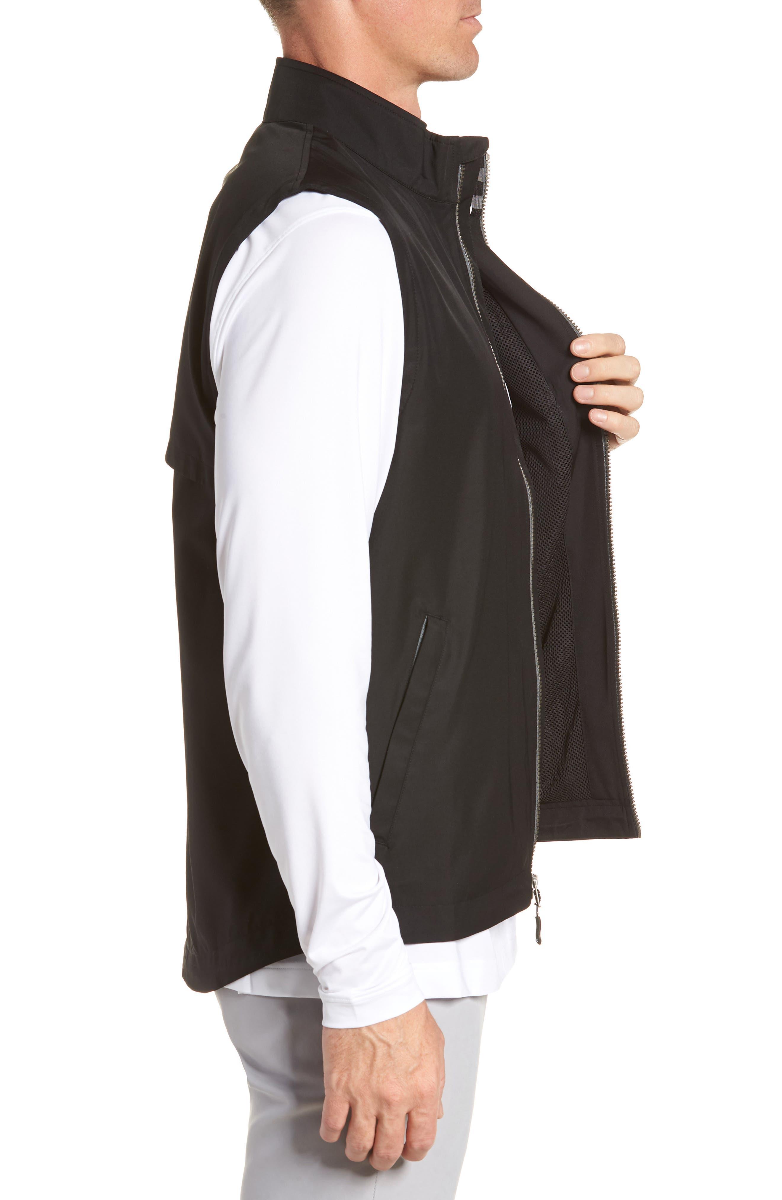 Nine Iron DryTec Zip Vest,                             Alternate thumbnail 3, color,                             BLACK