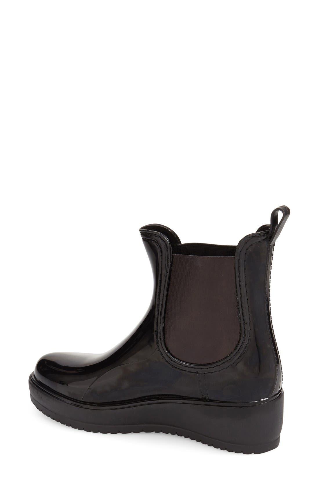 'Wakefield' Waterproof Platform Rain Chelsea Boot,                             Alternate thumbnail 4, color,                             BLACK