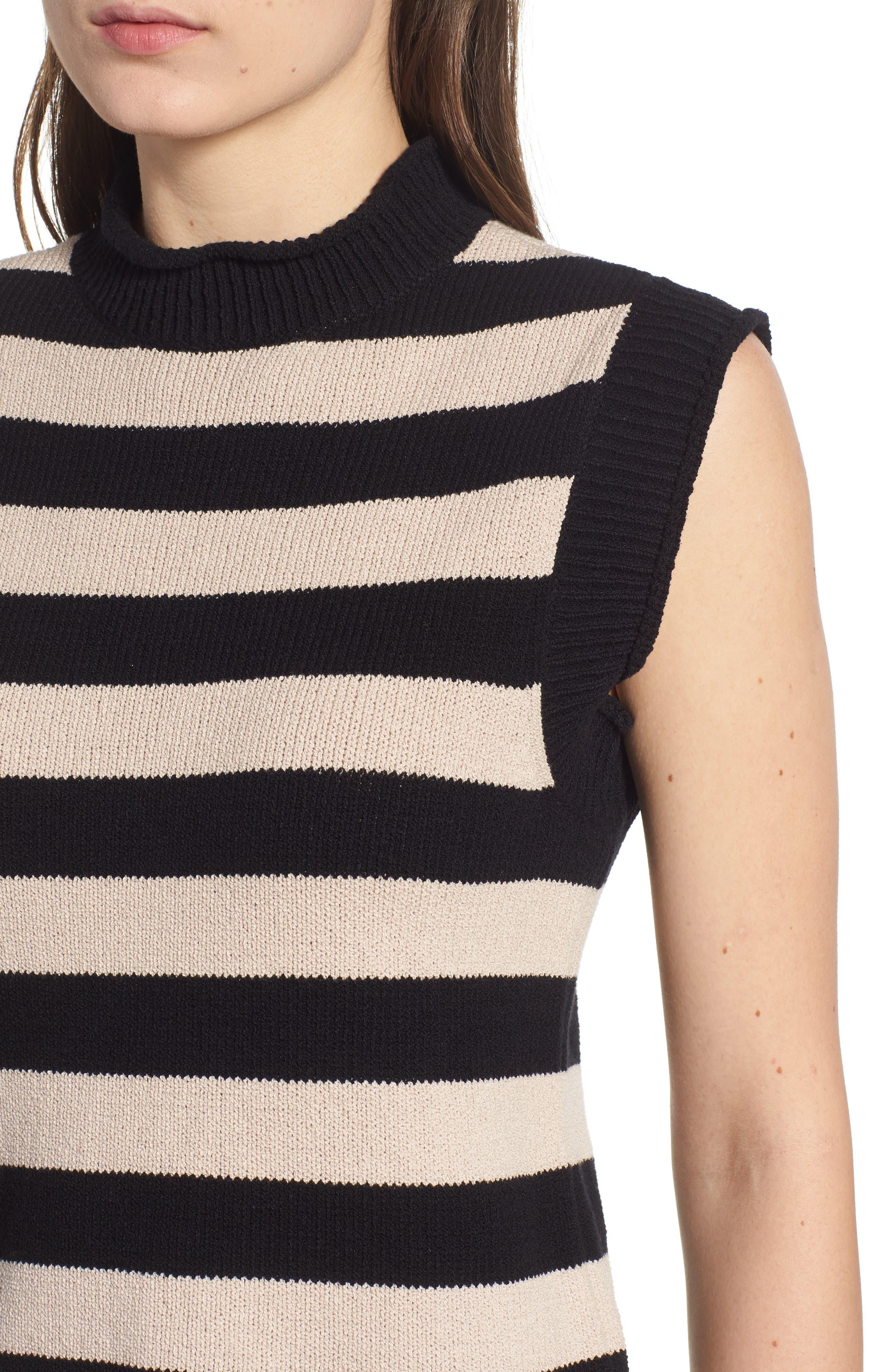 Tenny Stripe Sleeveless Sweater,                             Alternate thumbnail 4, color,                             BLACK CAT / AUTUMN STRIPE