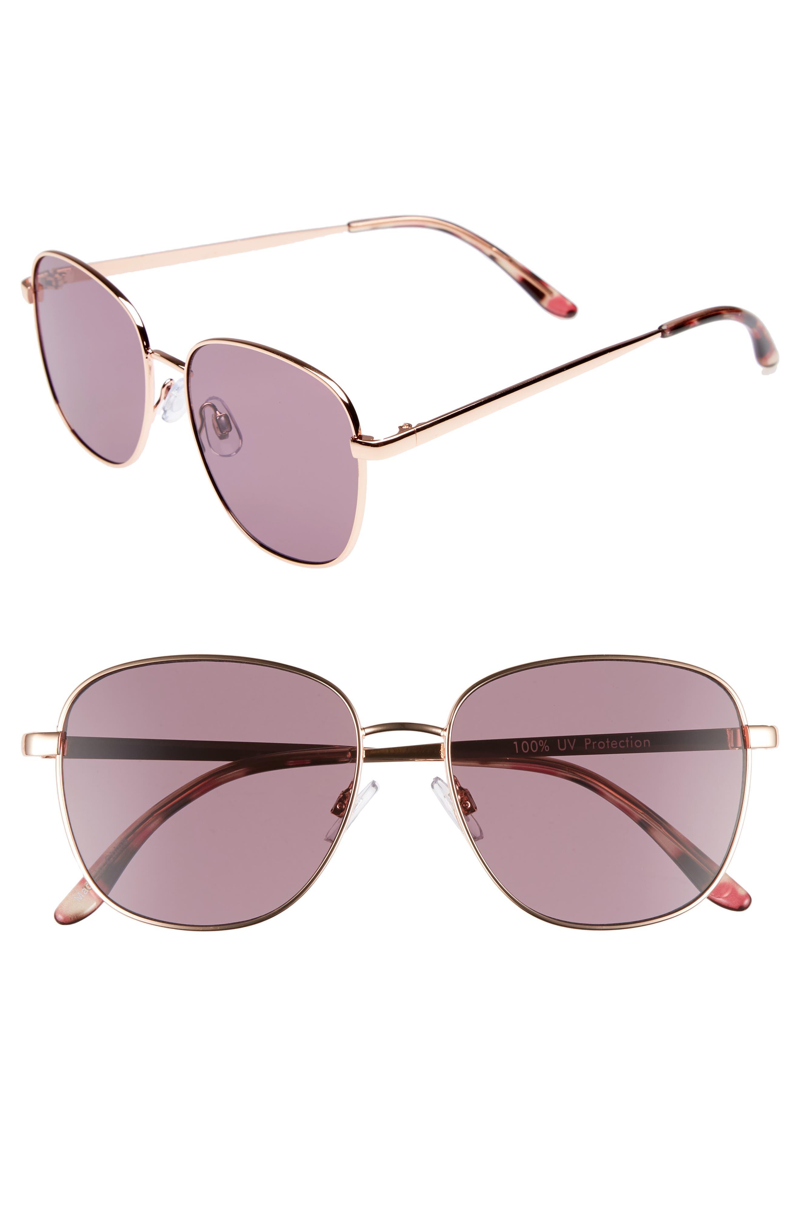 53mm Square Sunglasses,                             Main thumbnail 1, color,                             ROSE GOLD/ PURPLE