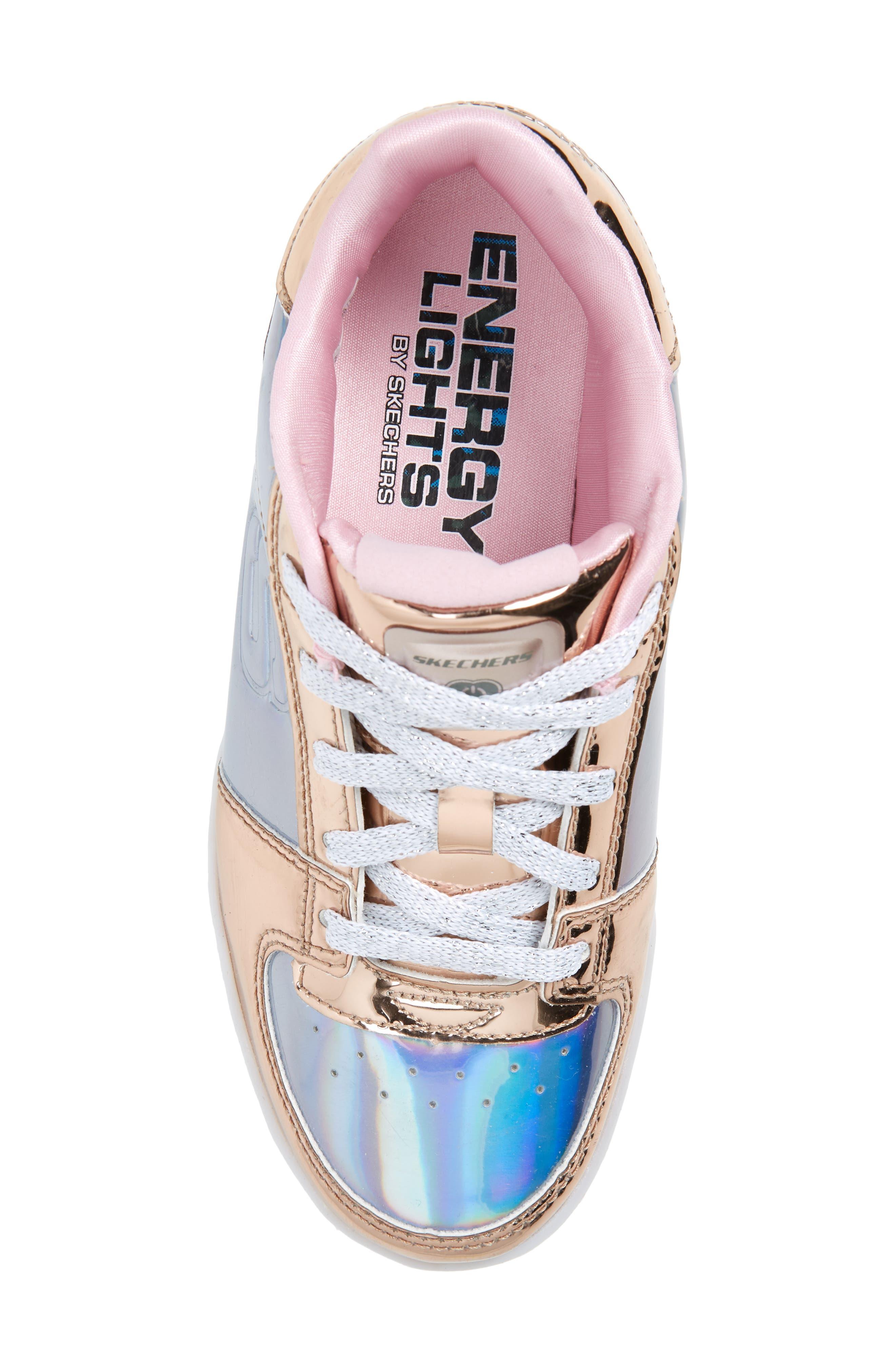 SKECHERS,                             Energy Lights Shiny Light-Up Sneaker,                             Alternate thumbnail 5, color,                             222