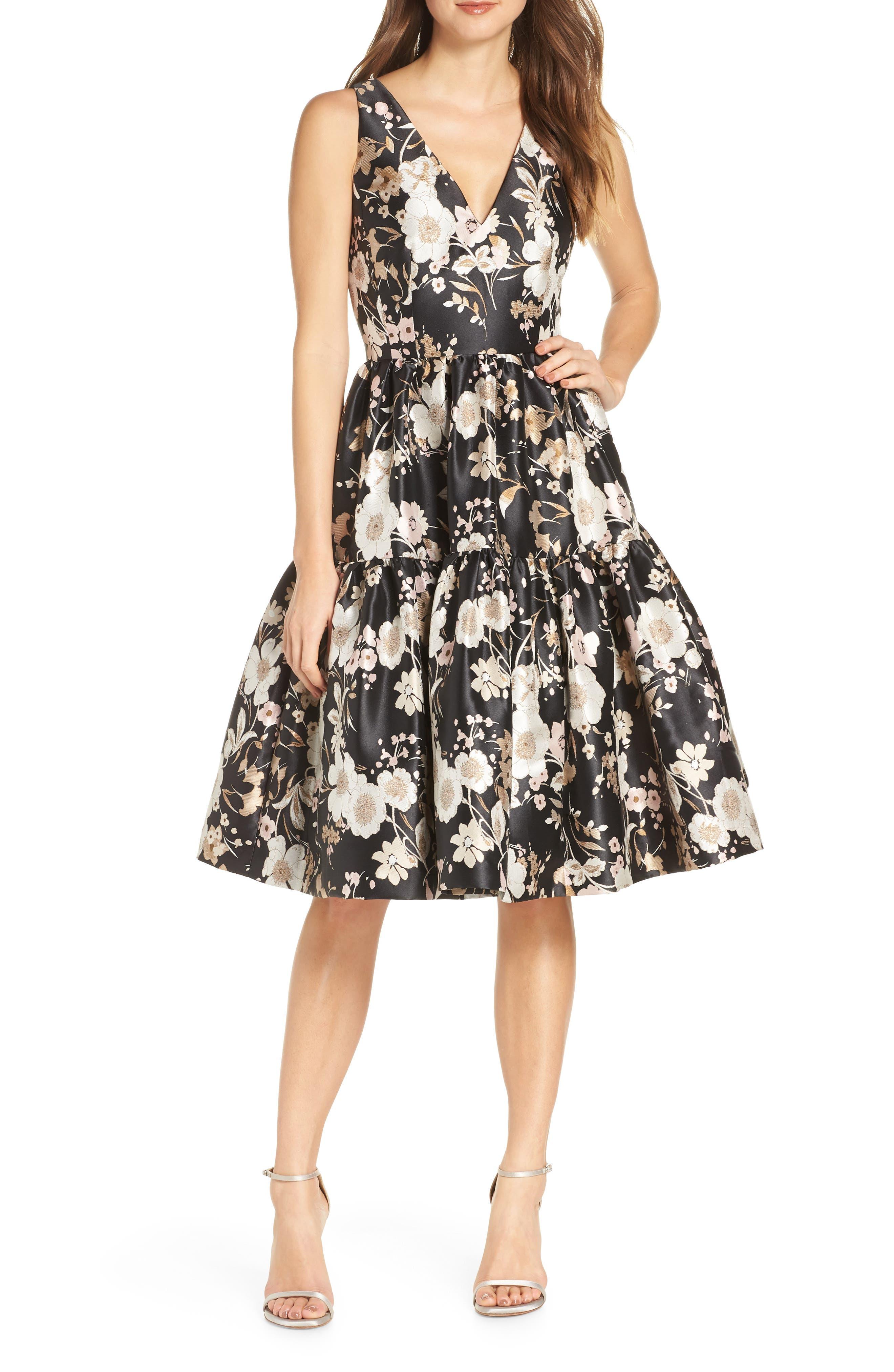 ELIZA J Floral Jacquard Fit & Flare Dress, Main, color, BLACK WHITE