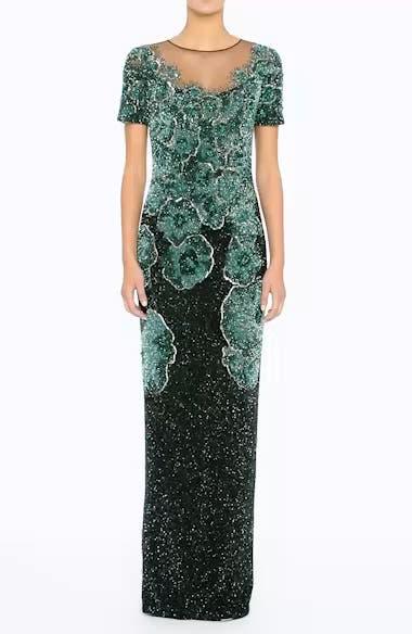 Floral Sequin Column Gown, video thumbnail