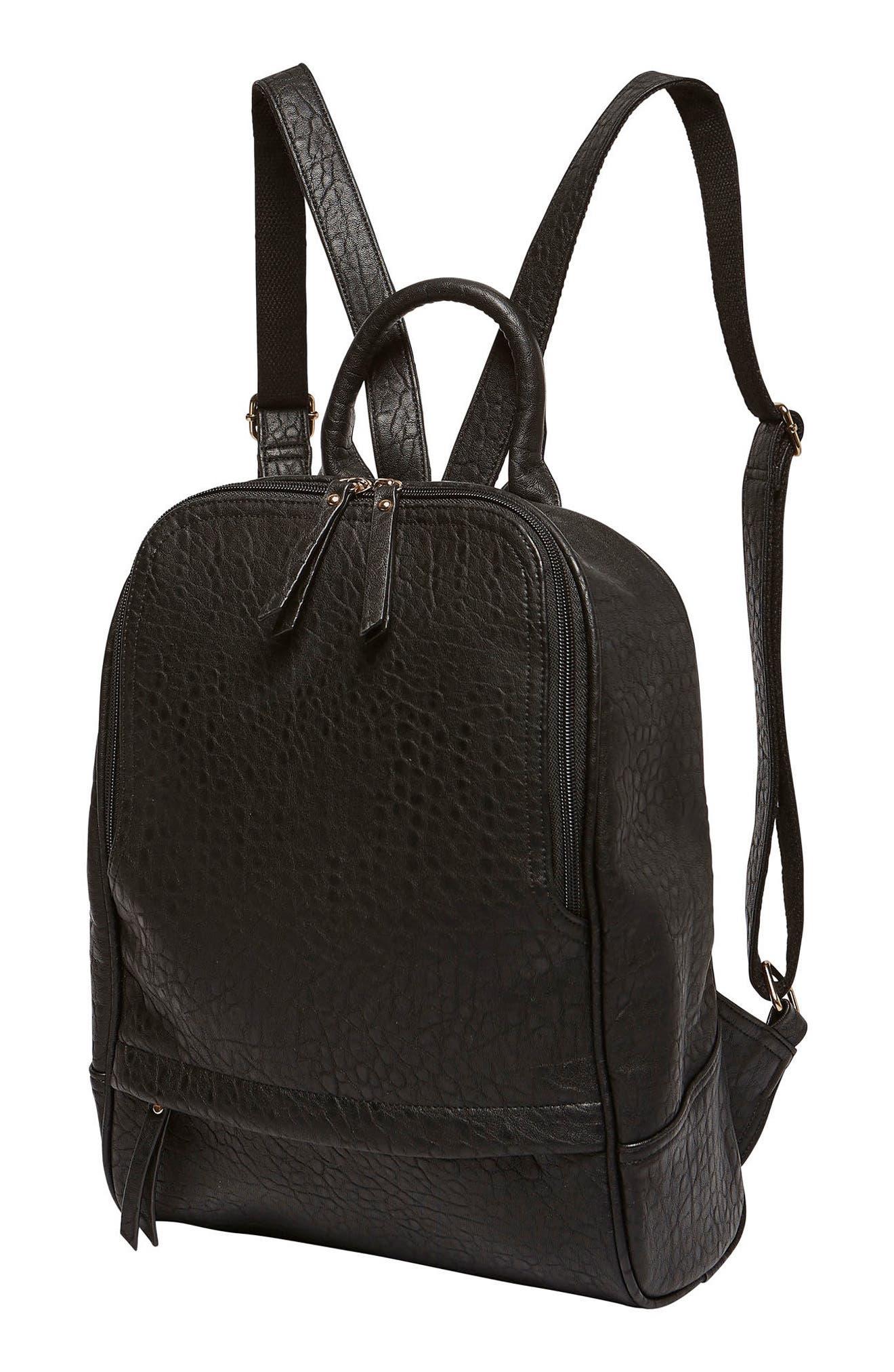 My Way Vegan Leather Backpack,                             Alternate thumbnail 4, color,                             BLACK