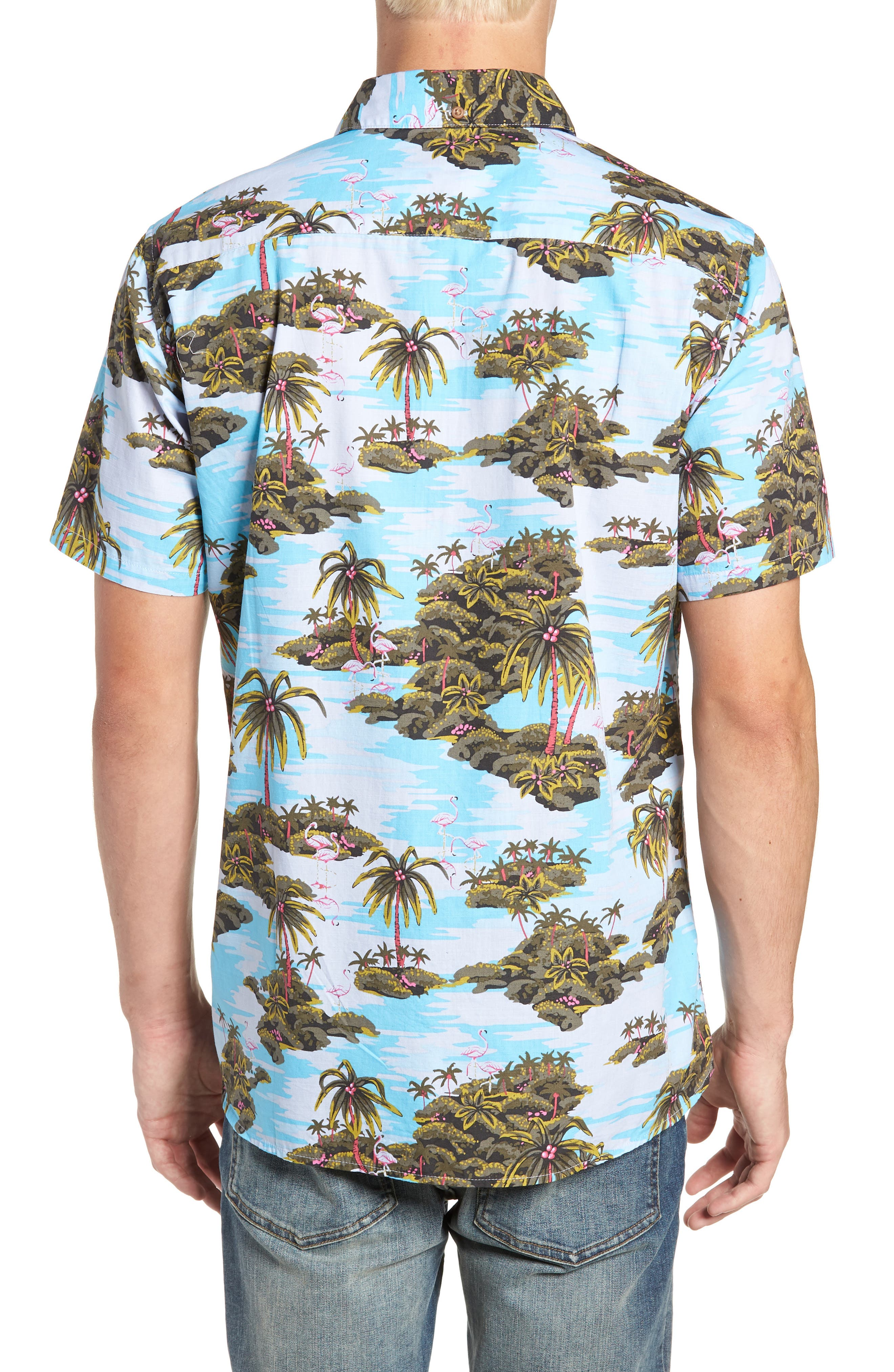Garage Palm Tree Woven Shirt,                             Alternate thumbnail 3, color,                             OCEAN BLISS