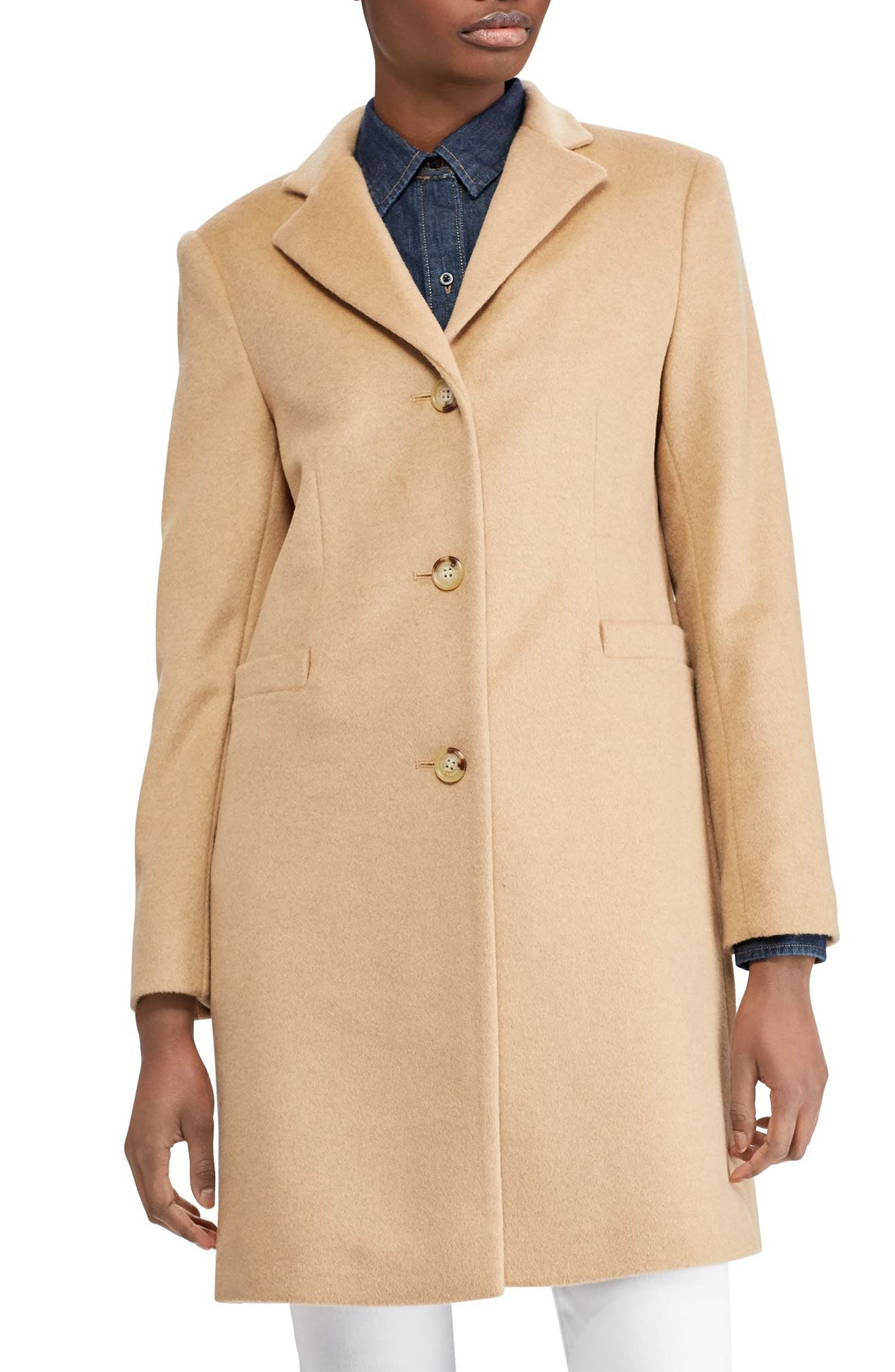 1940s Coats & Jackets Fashion History Womens Lauren Ralph Lauren Paige Wool Blend Reefer Coat Size 0 - Beige $220.00 AT vintagedancer.com