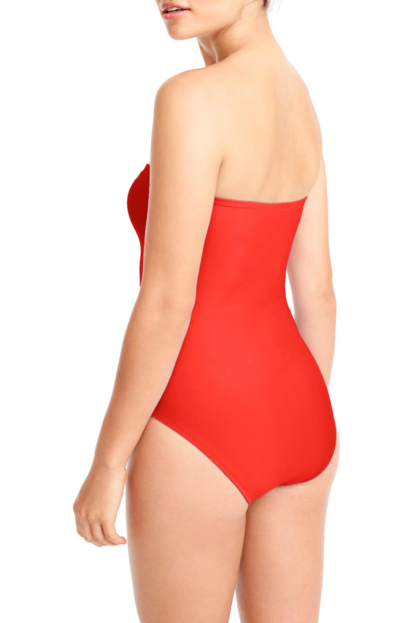 U-Front Bandeau One-Piece Swimsuit,                             Alternate thumbnail 2, color,                             600