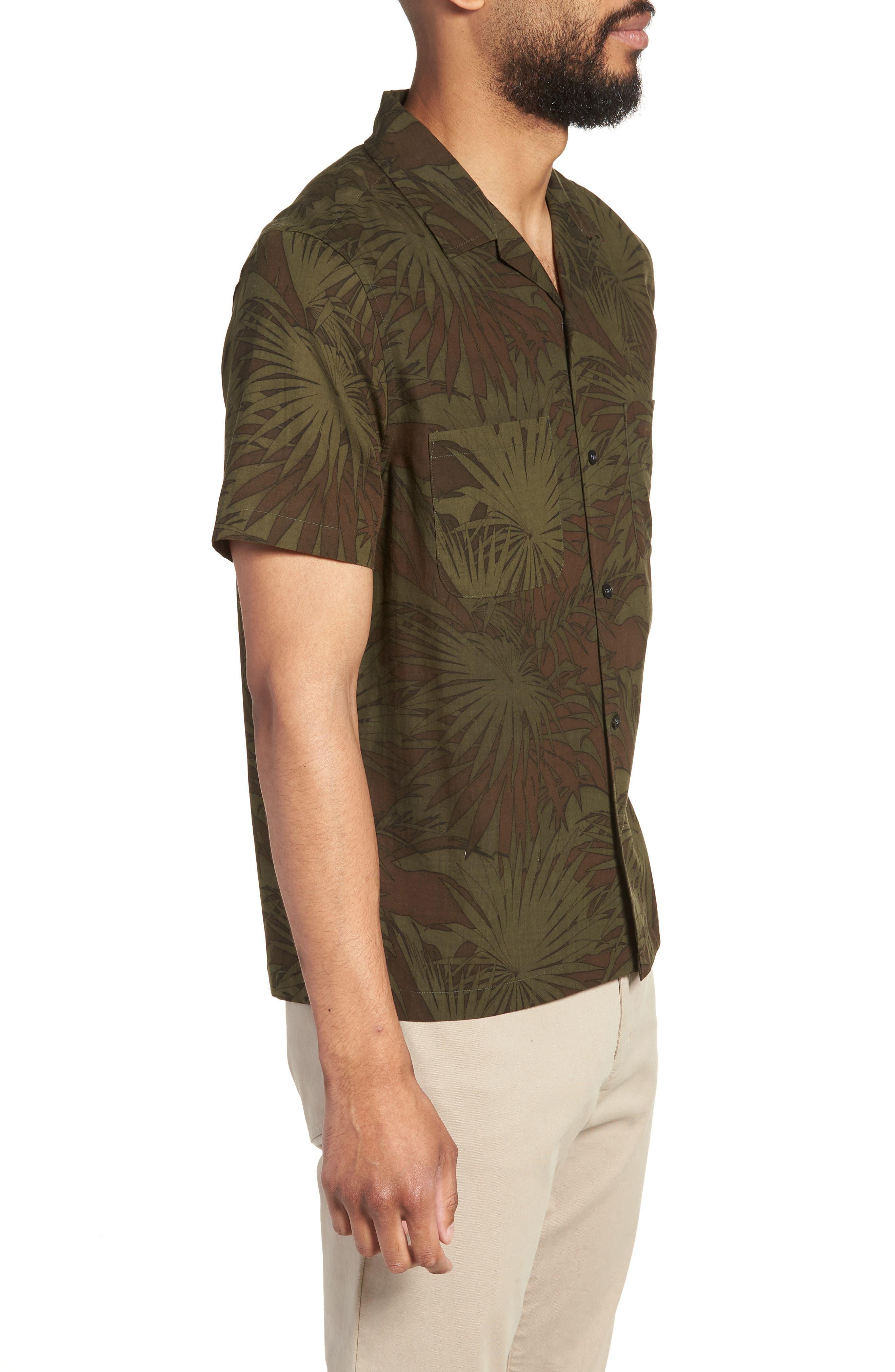 Palm Leaf Cabana Woven Shirt,                             Alternate thumbnail 3, color,                             FOLIAGE/ DRIED HERB