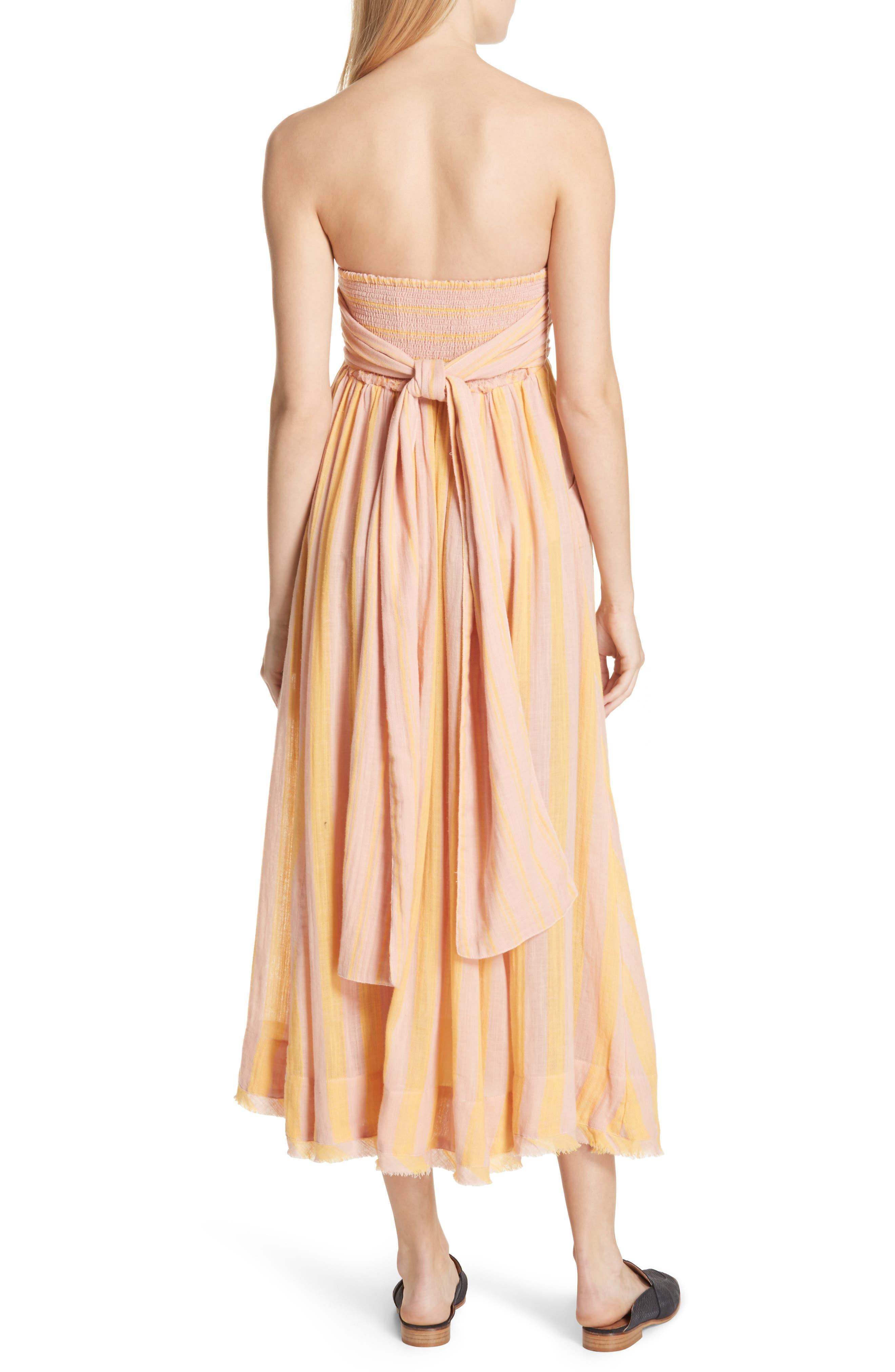 Stripe Me Up Strapless Midi Dress,                             Alternate thumbnail 4, color,