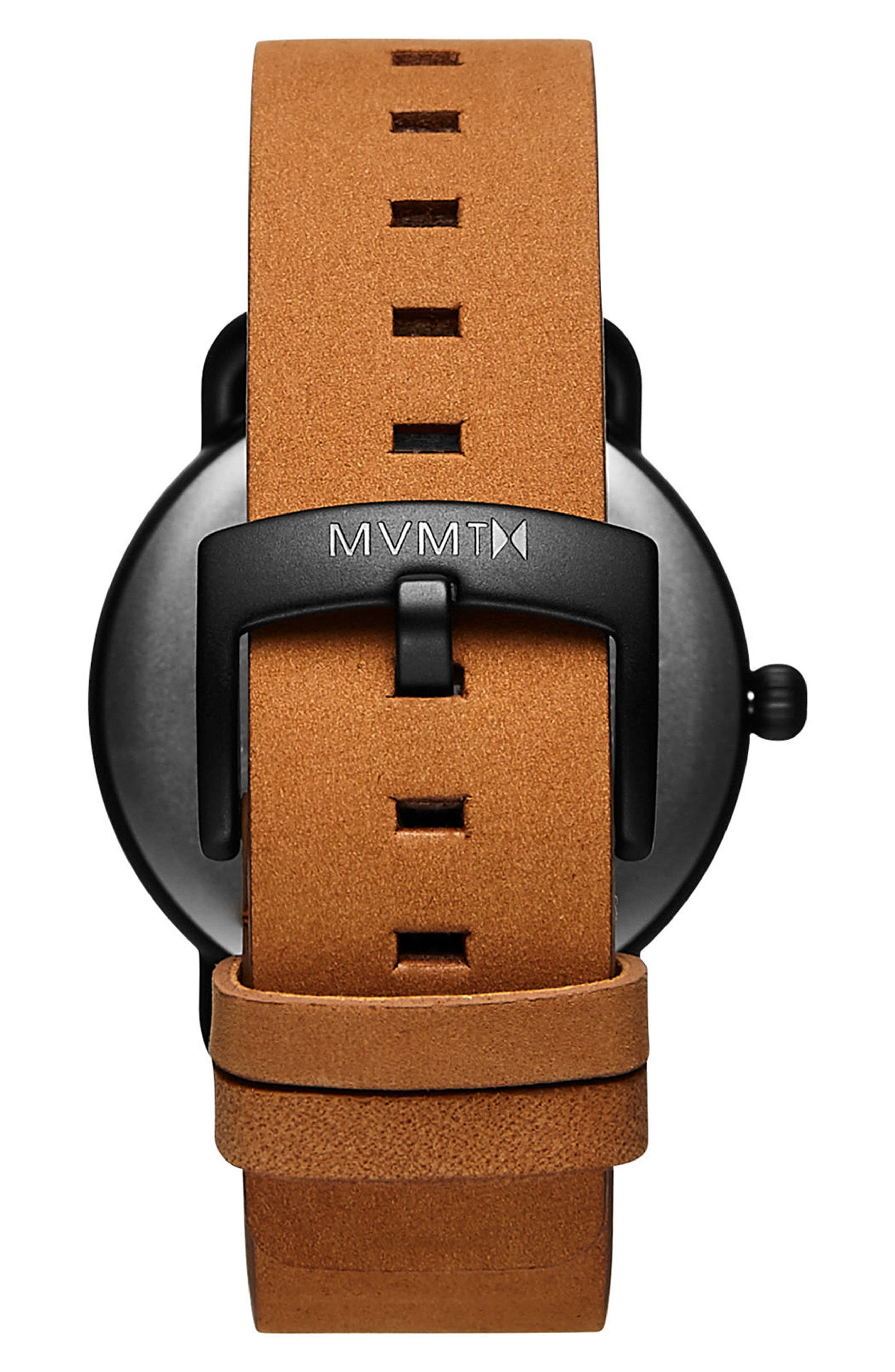 Revolver Wilde Leather Strap Watch, 41mm,                             Alternate thumbnail 2, color,                             BLACK/ SADDLE
