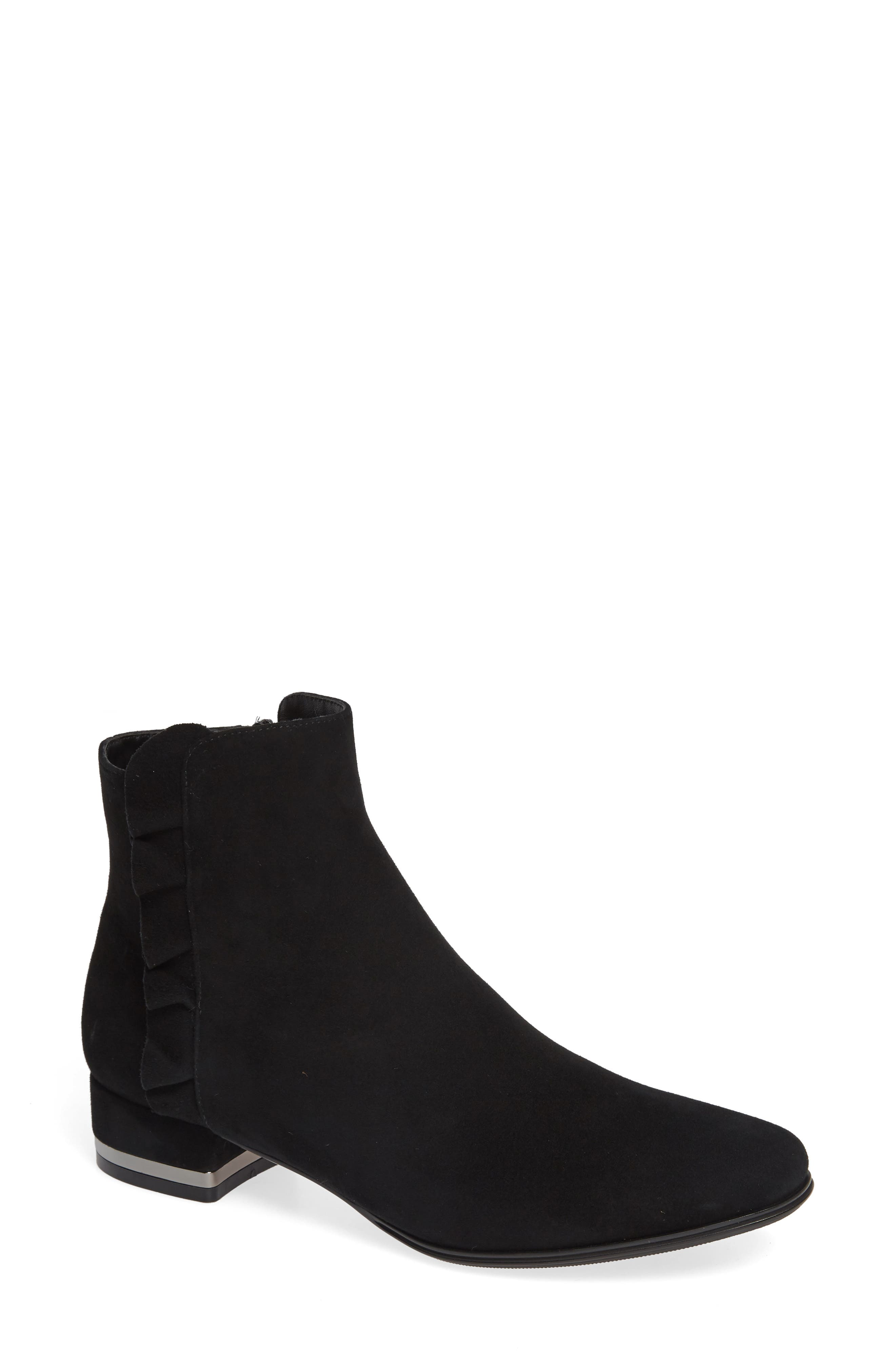 Amoke Bootie,                             Main thumbnail 1, color,                             BLACK SUEDE