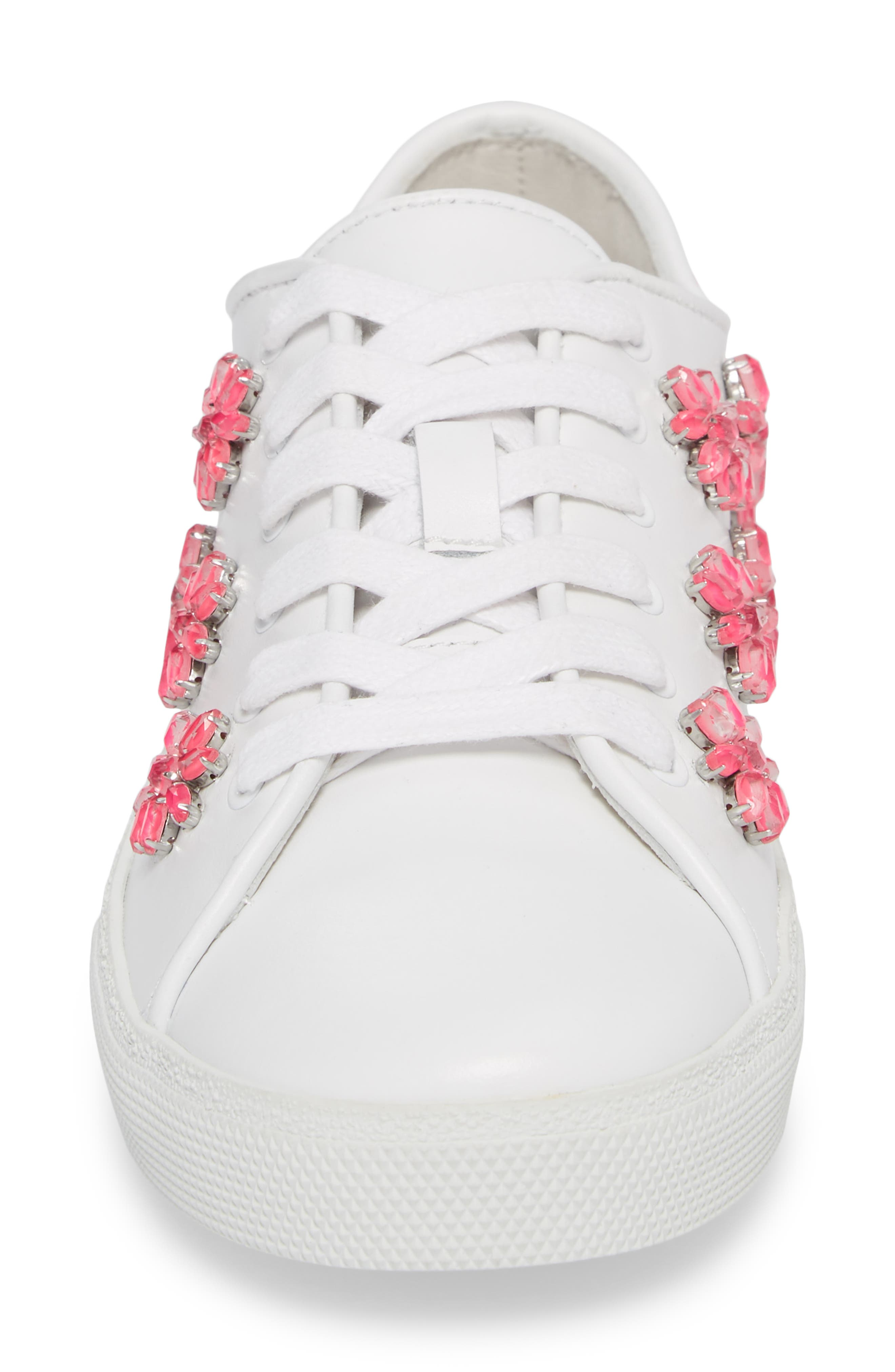 Cleo Crystal Embellished Sneaker,                             Alternate thumbnail 4, color,                             PURE WHITE