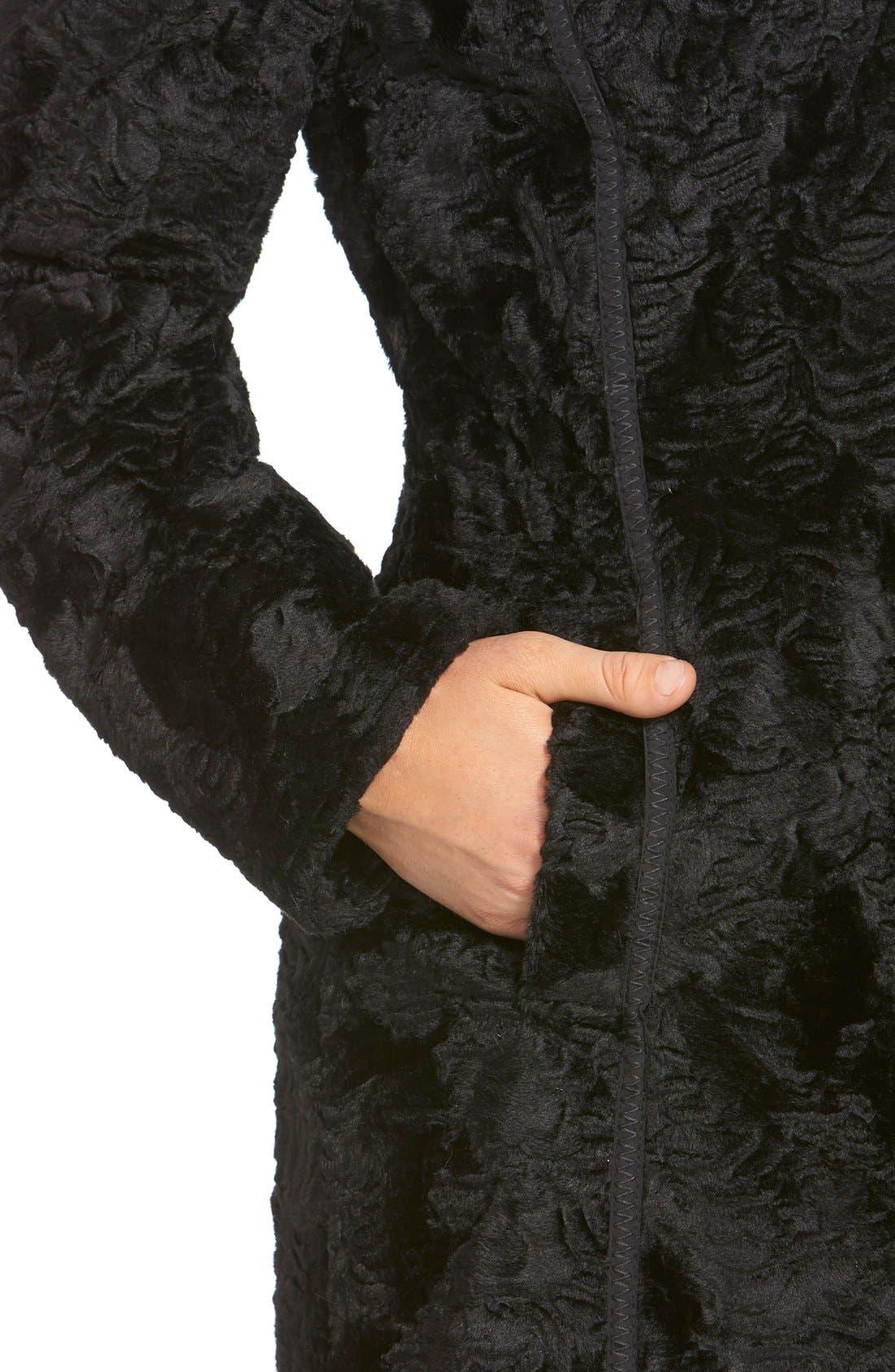 Laundry by ShelliSegalReversible FauxPersian Lamb Fur Coat,                             Alternate thumbnail 5, color,                             001