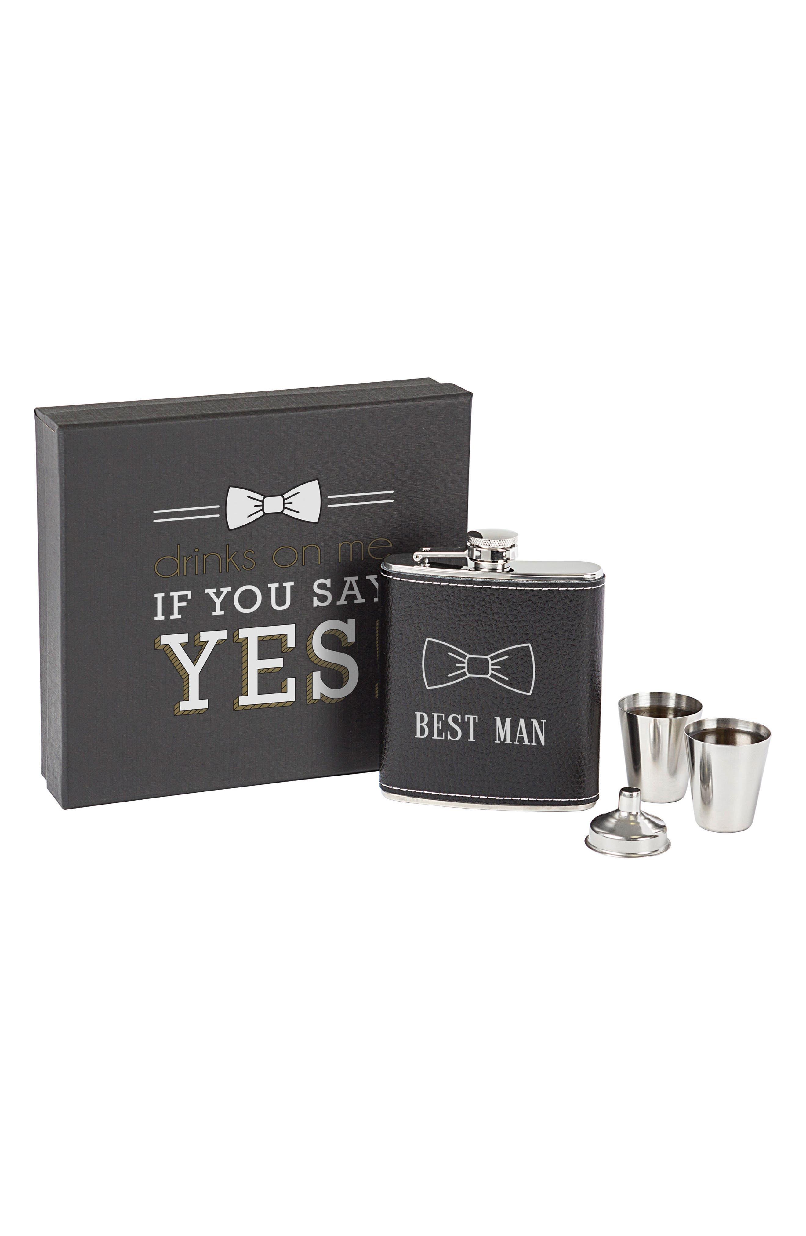 Best Man Flask Set,                             Main thumbnail 1, color,