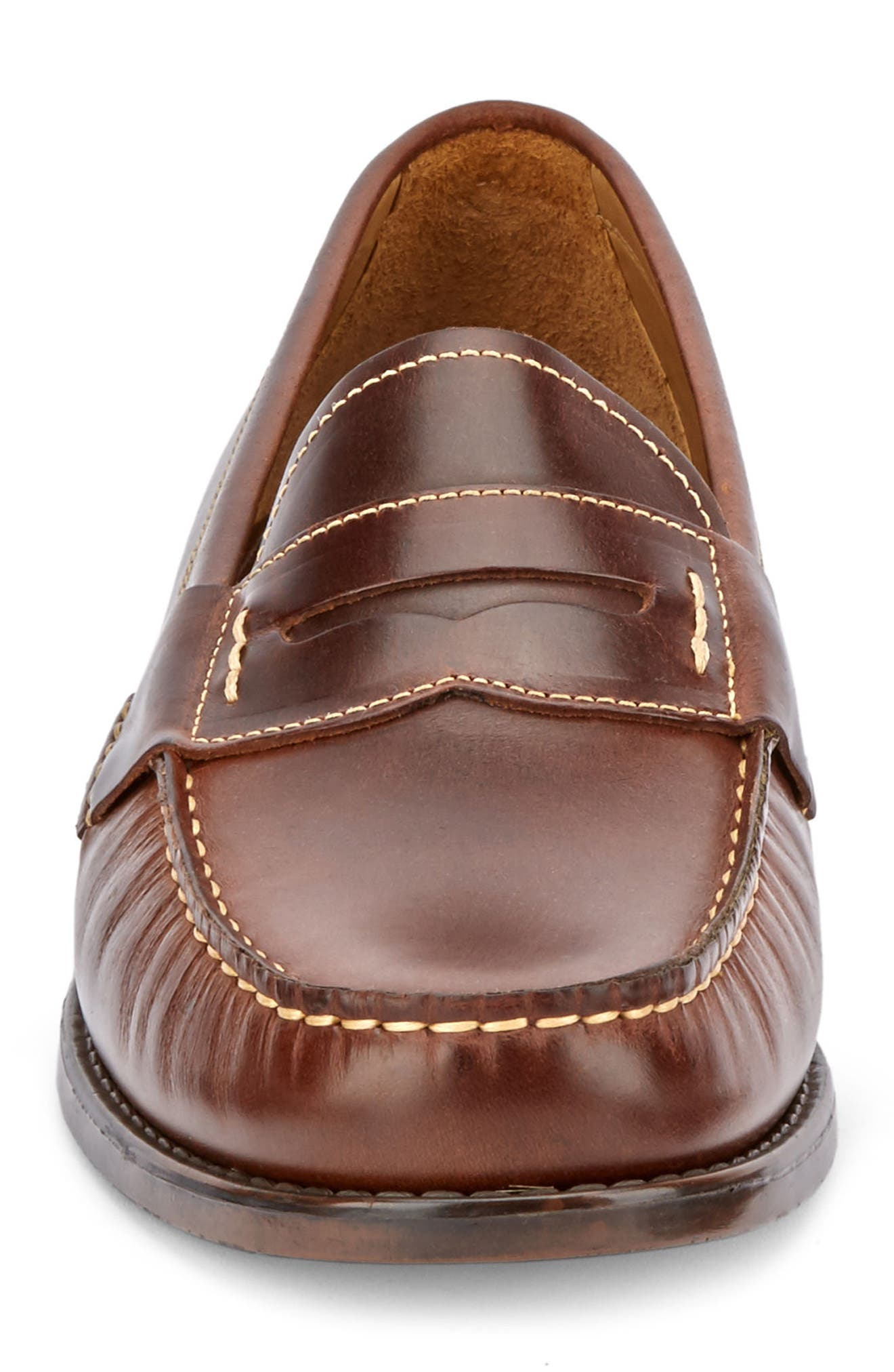 Wagner Penny Loafer,                             Alternate thumbnail 4, color,                             DARK BROWN LEATHER